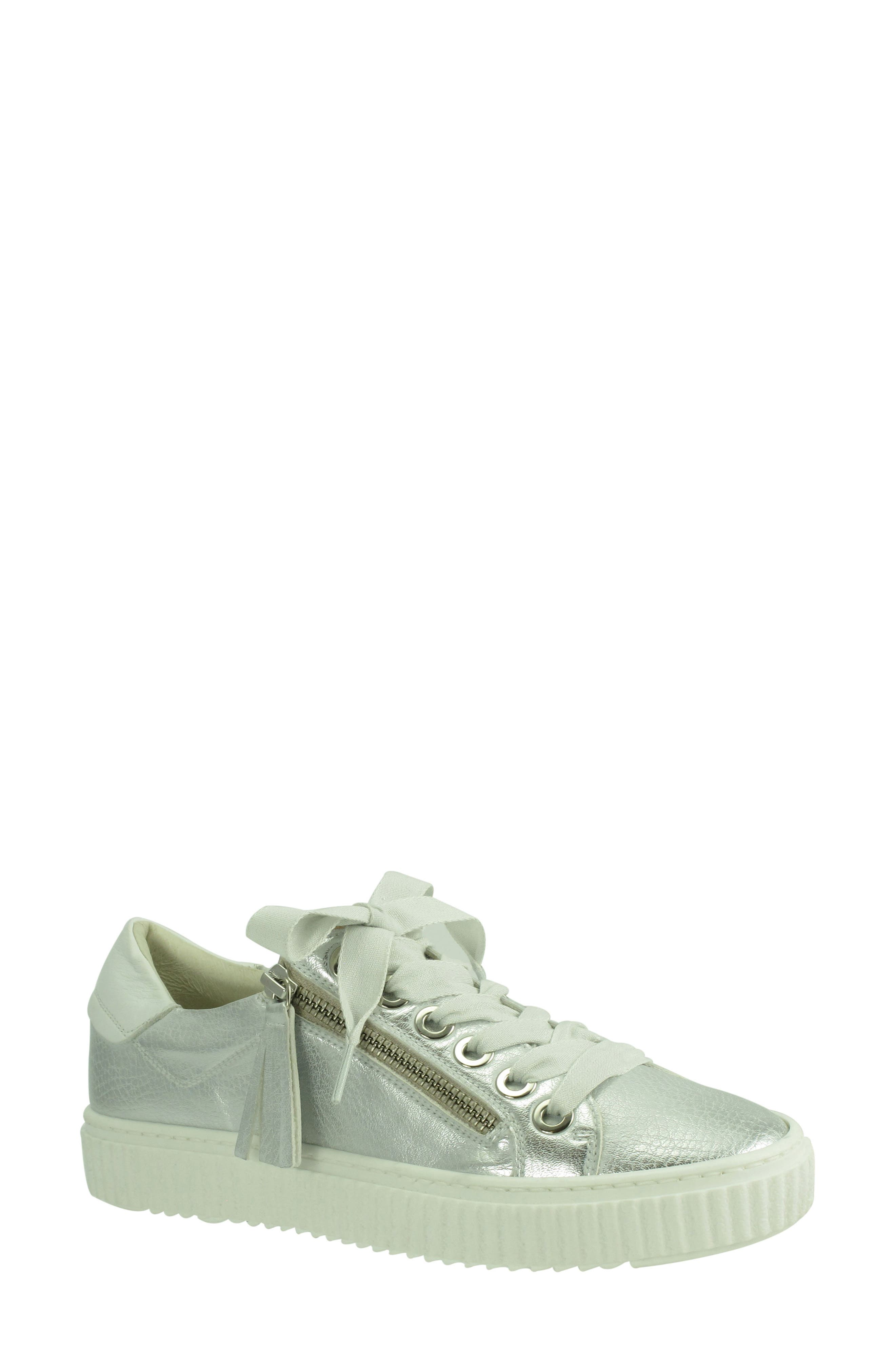 Posey Sneaker,                             Main thumbnail 1, color,                             SILVER LEATHER