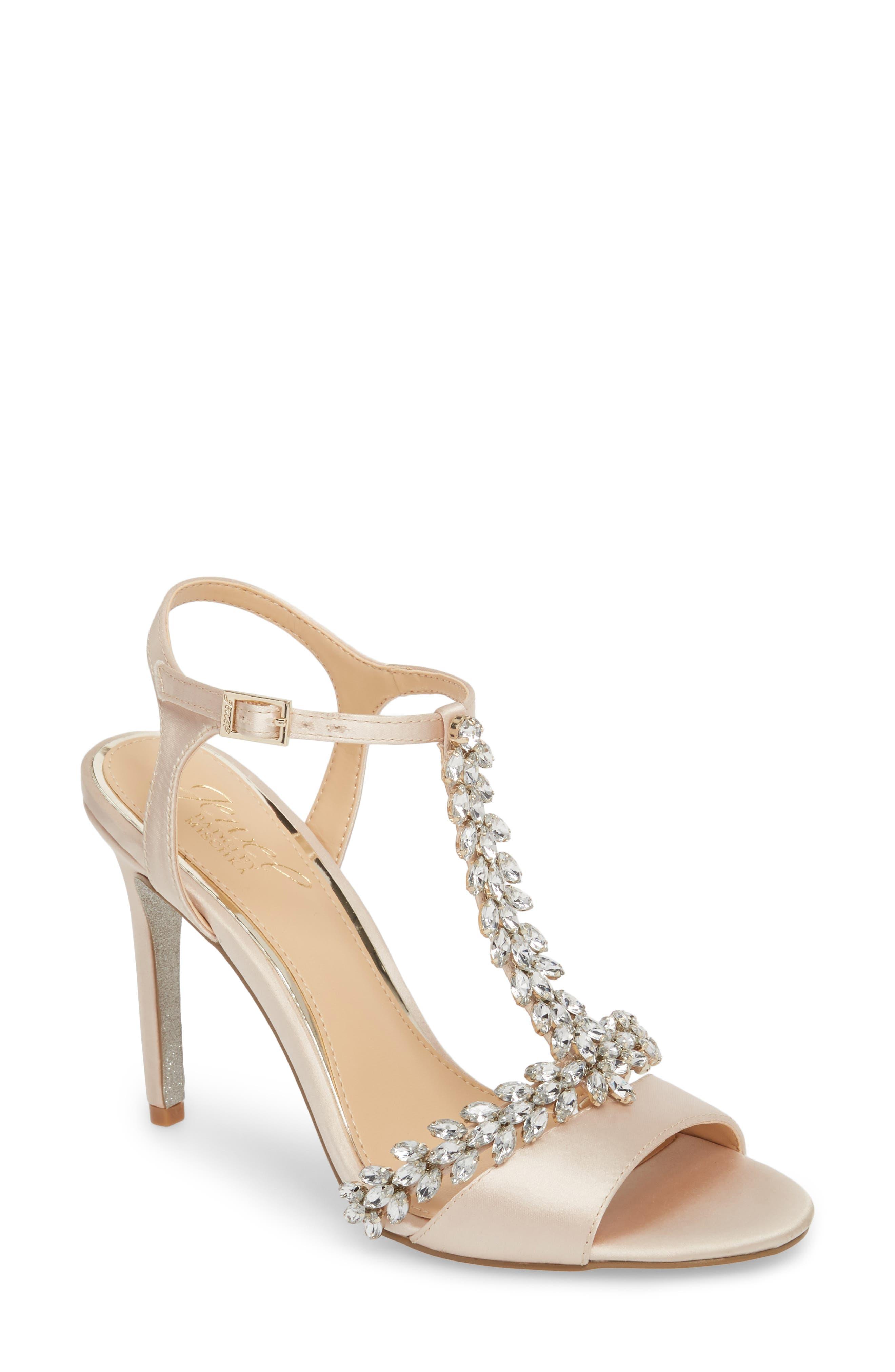 Jewel Badgley Mischka Maxi Crystal Embellished Sandal- Metallic