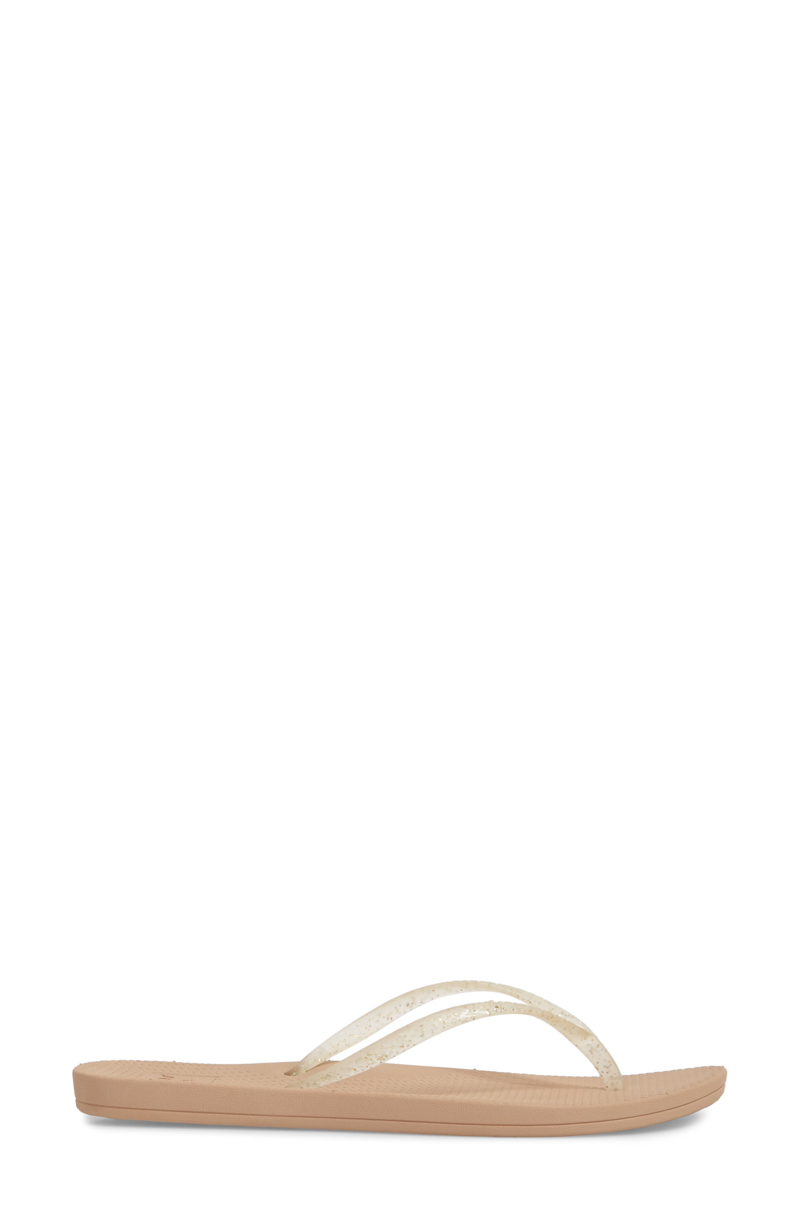 Lux Shimmer Flip Flop,                             Alternate thumbnail 3, color,                             CHAMPAGNE