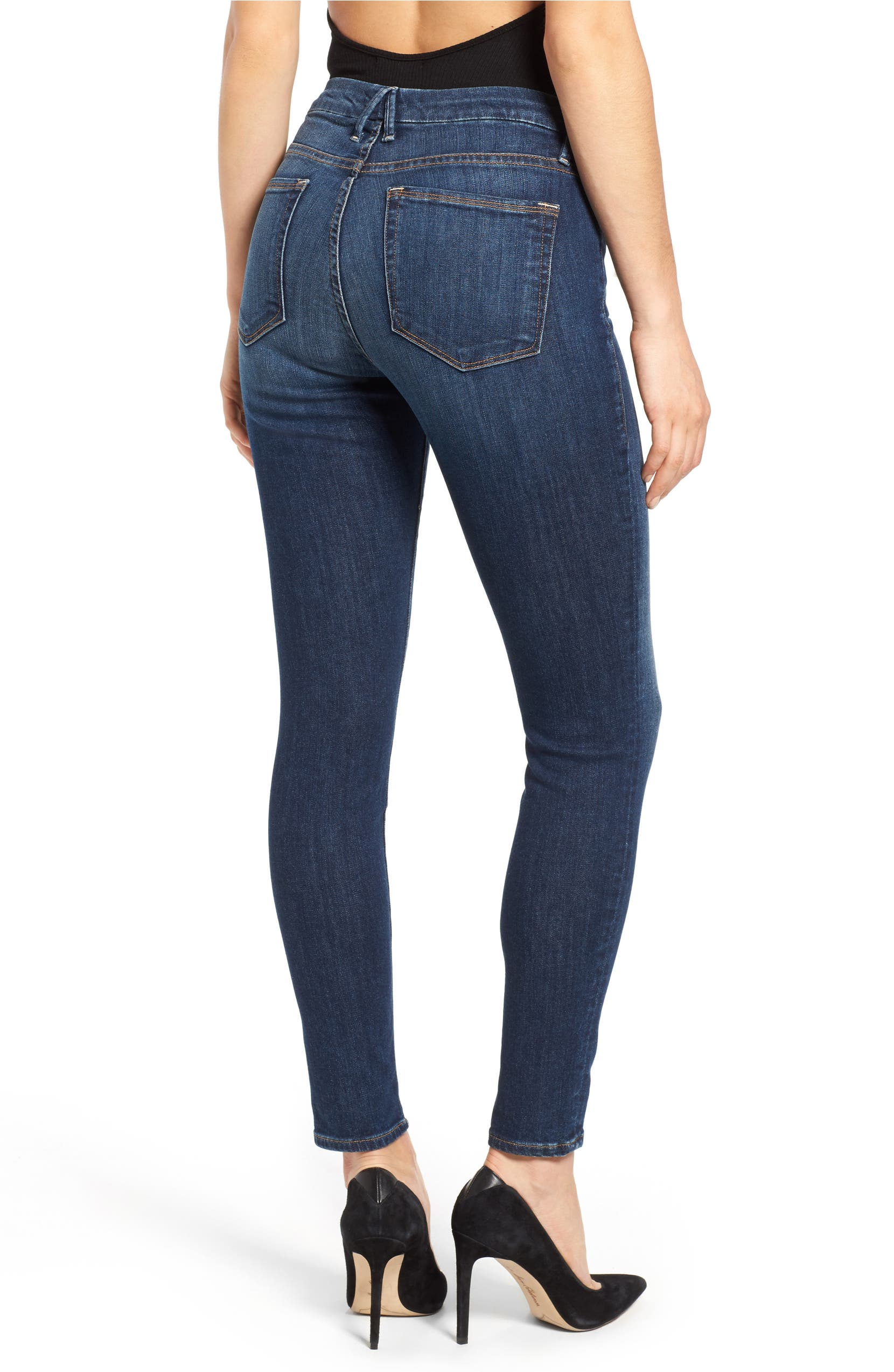 Good American Legs High Rise Skinny Jeans Blue 004 Regular Plus Size Nordstrom