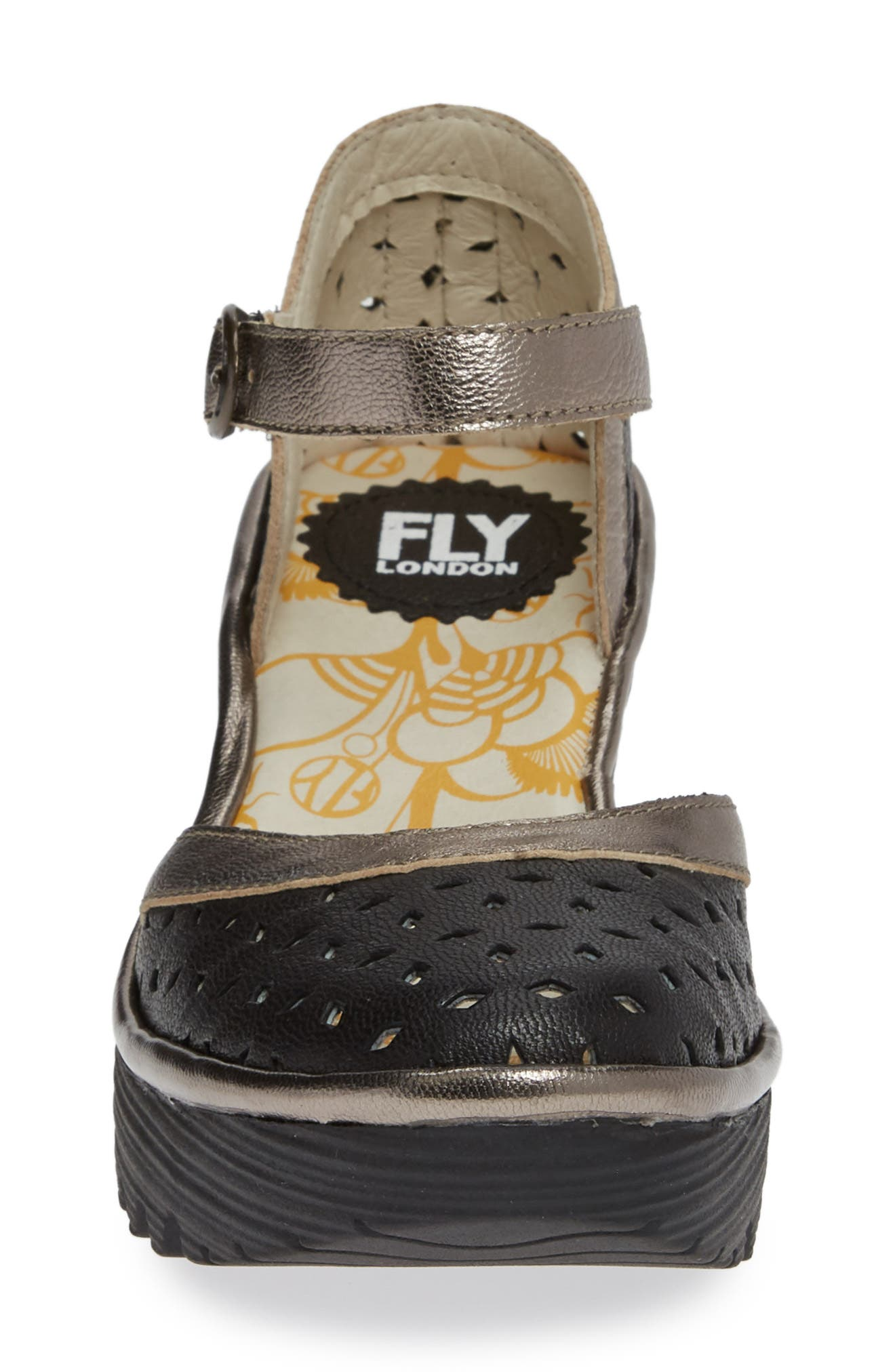 FLY LONDON,                             Yven Wedge,                             Alternate thumbnail 4, color,                             BLACK/ BRONZE LEATHER