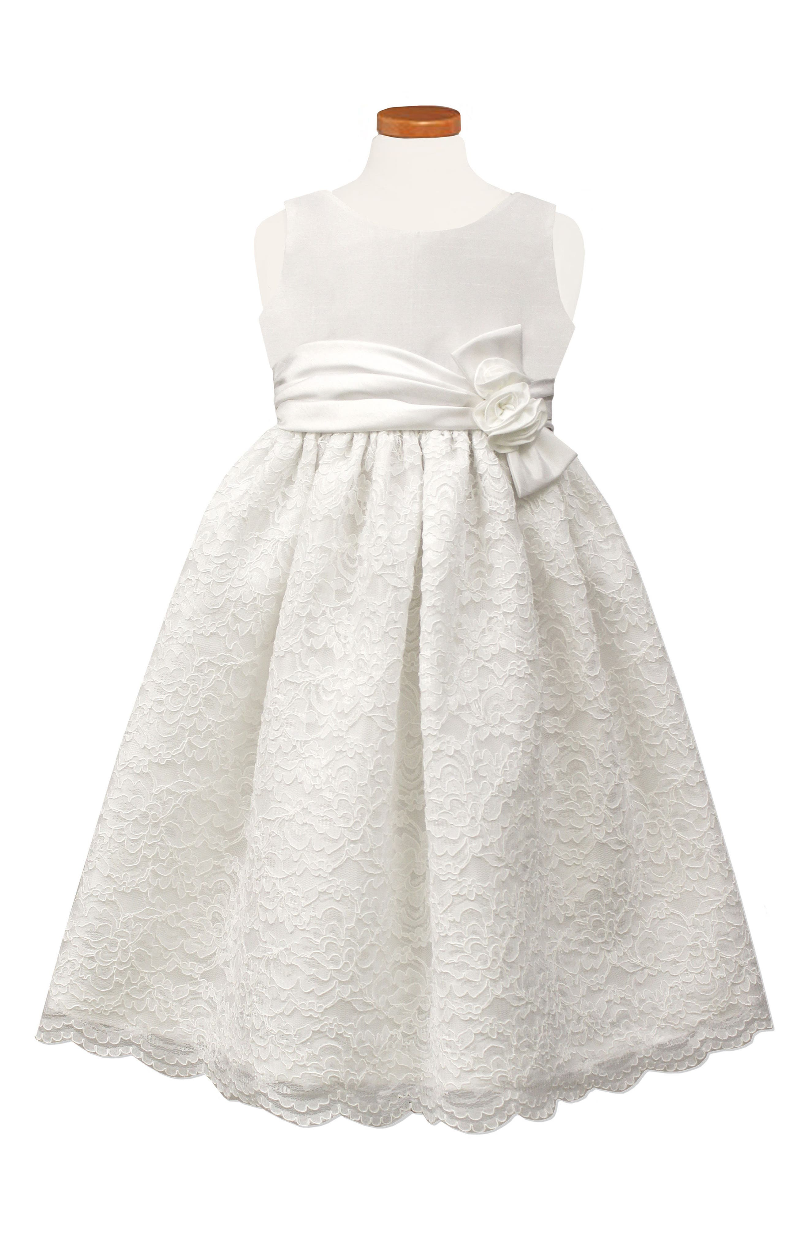 Satin & Lace Party Dress,                             Main thumbnail 1, color,                             100