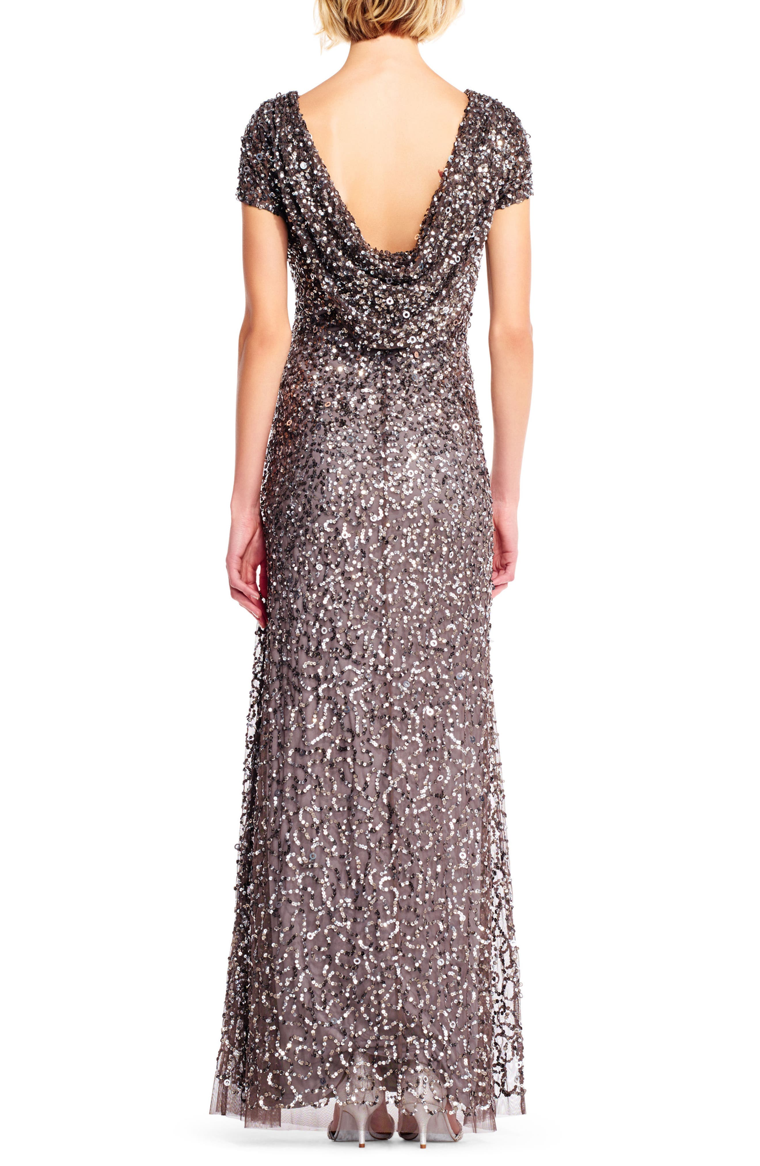 Sequin Cowl Back Gown,                             Alternate thumbnail 5, color,