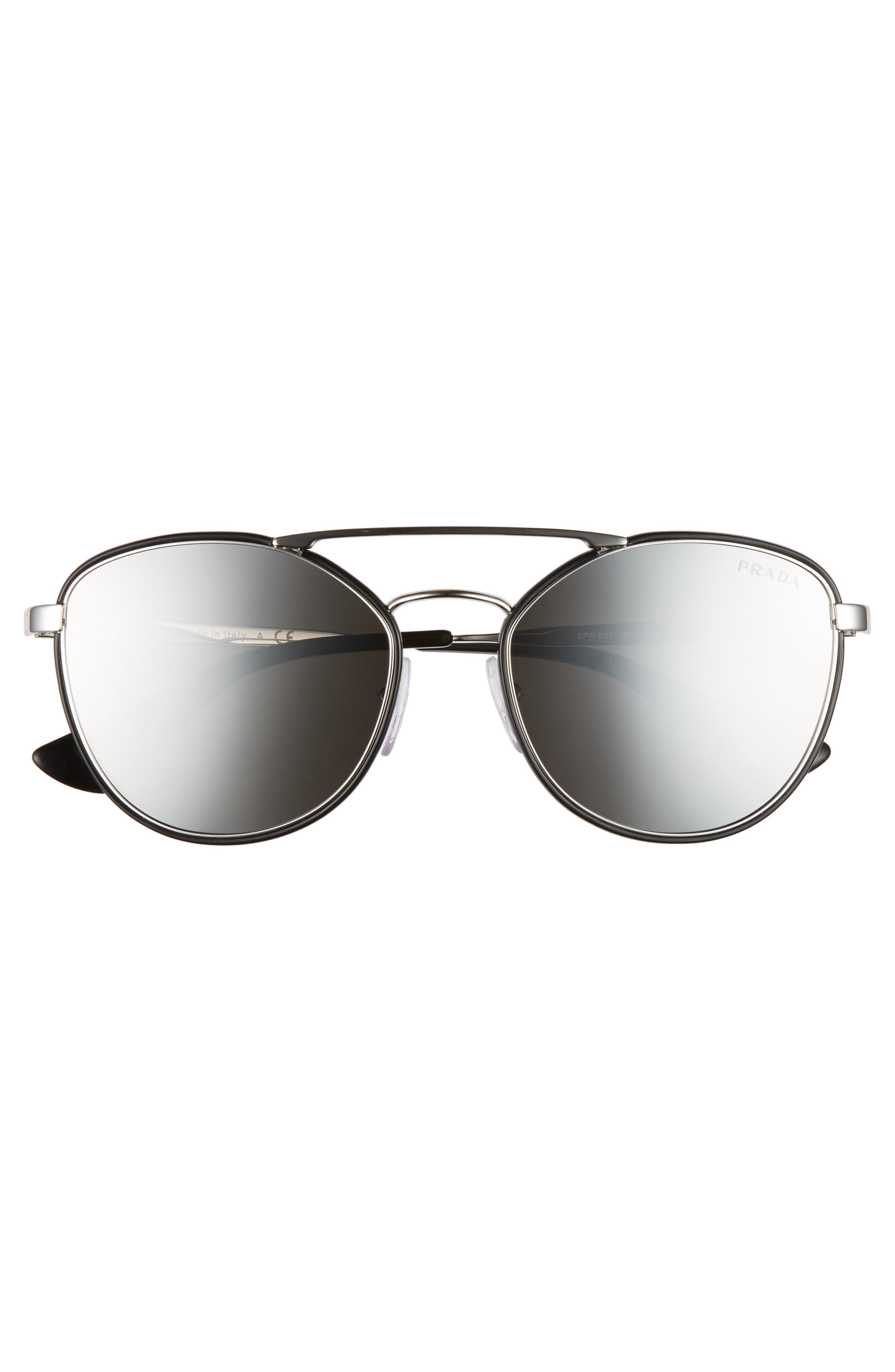 55mm Mirrored Aviator Sunglasses,                             Alternate thumbnail 3, color,                             001