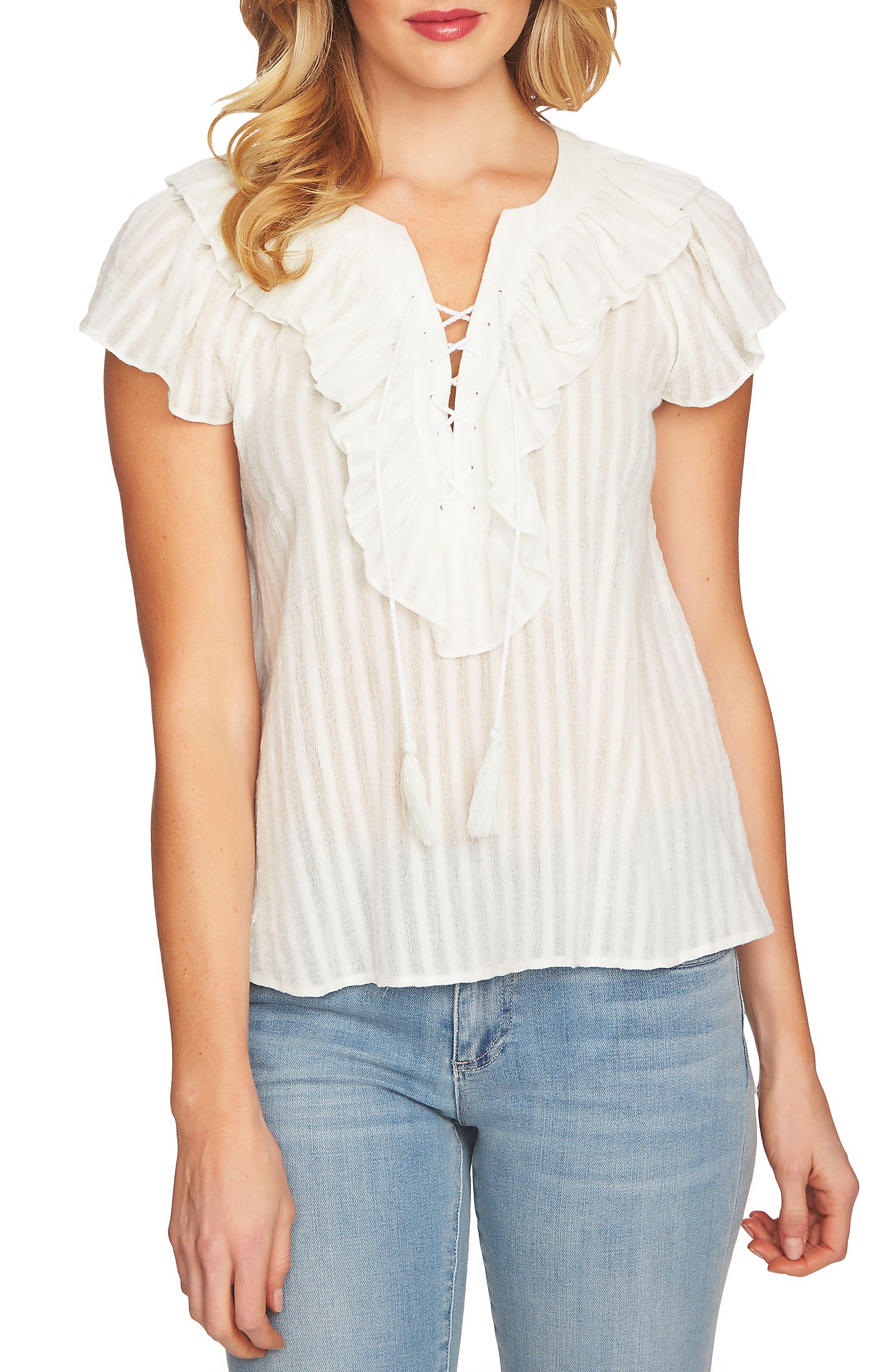 Lace Up Ruffle Stripe Cotton Blouse,                             Main thumbnail 2, color,