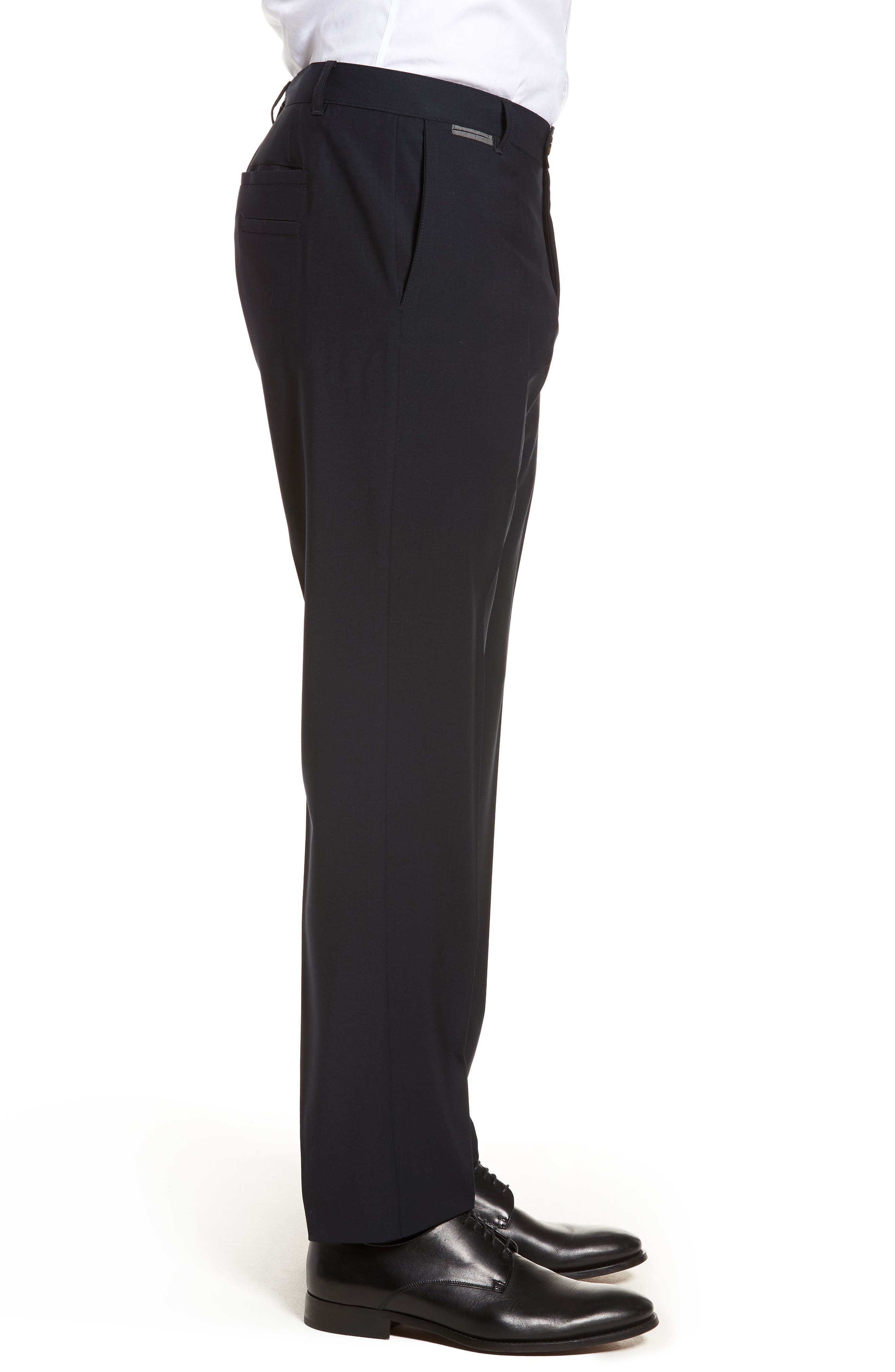 Flat Front Stretch Solid Wool Trousers,                             Alternate thumbnail 6, color,