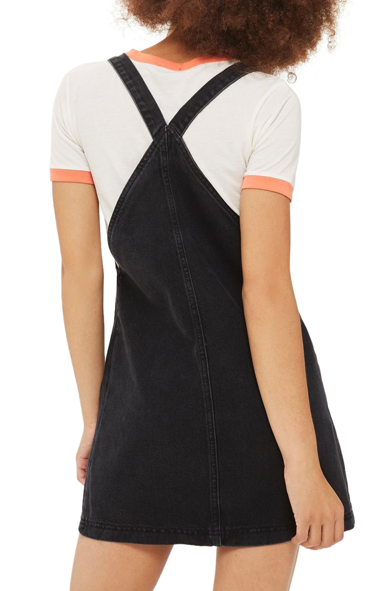 Denim Pinafore Dress,                             Alternate thumbnail 3, color,