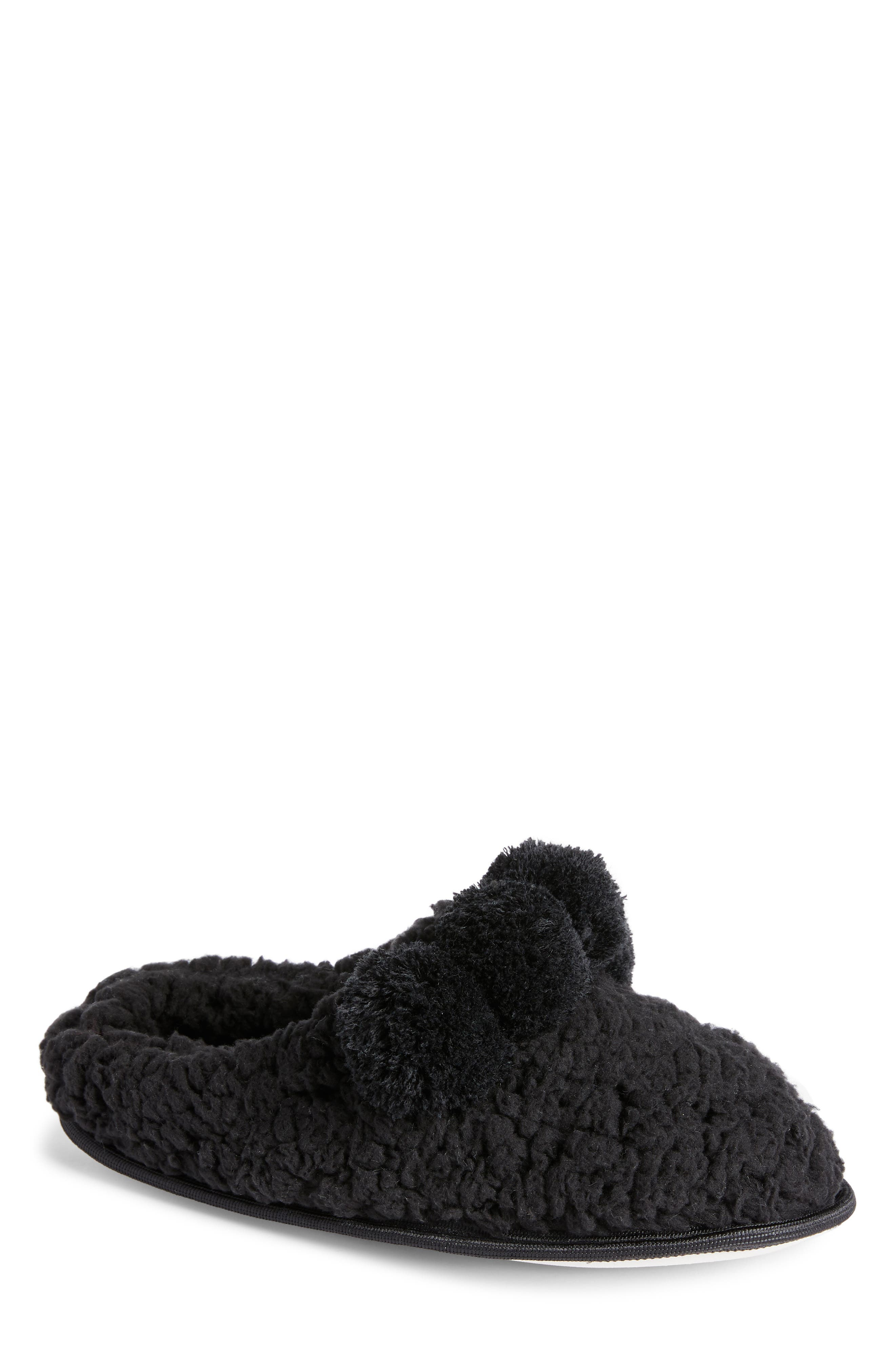 Pom Faux Shearling Scruff Slipper,                             Main thumbnail 1, color,                             BLACK MULTI