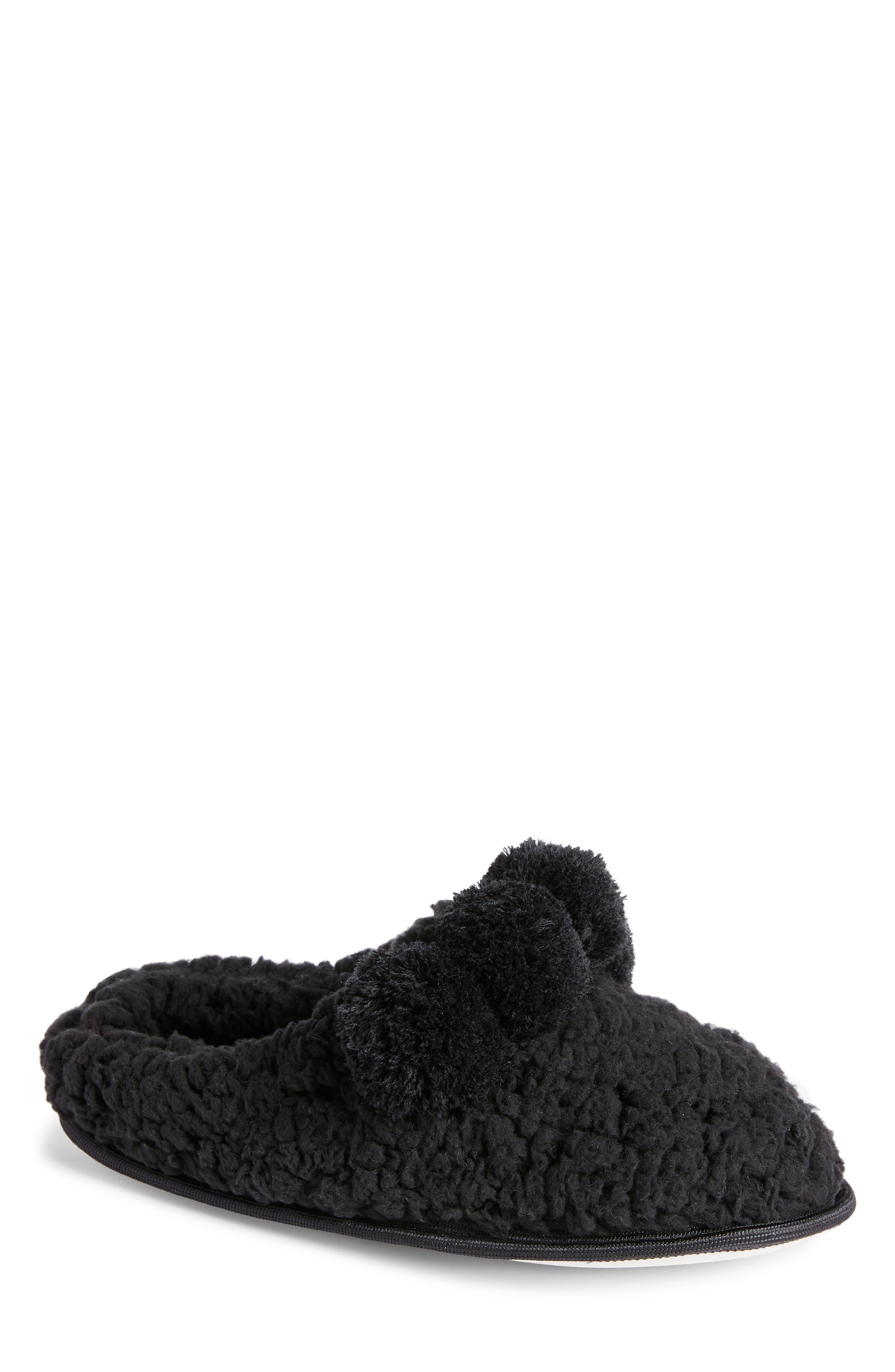 Pom Faux Shearling Scruff Slipper,                         Main,                         color, BLACK MULTI