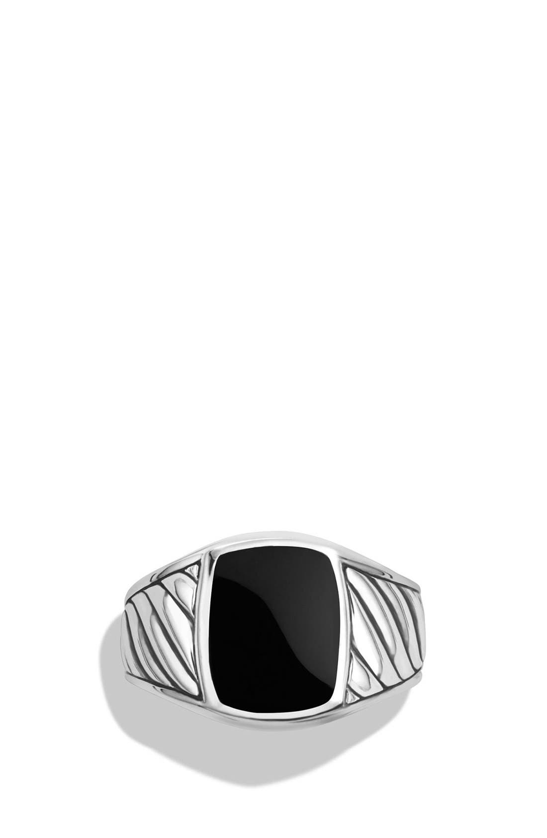 'Cable Classics' Signet Ring,                             Alternate thumbnail 4, color,                             SILVER/ BLACK ONYX