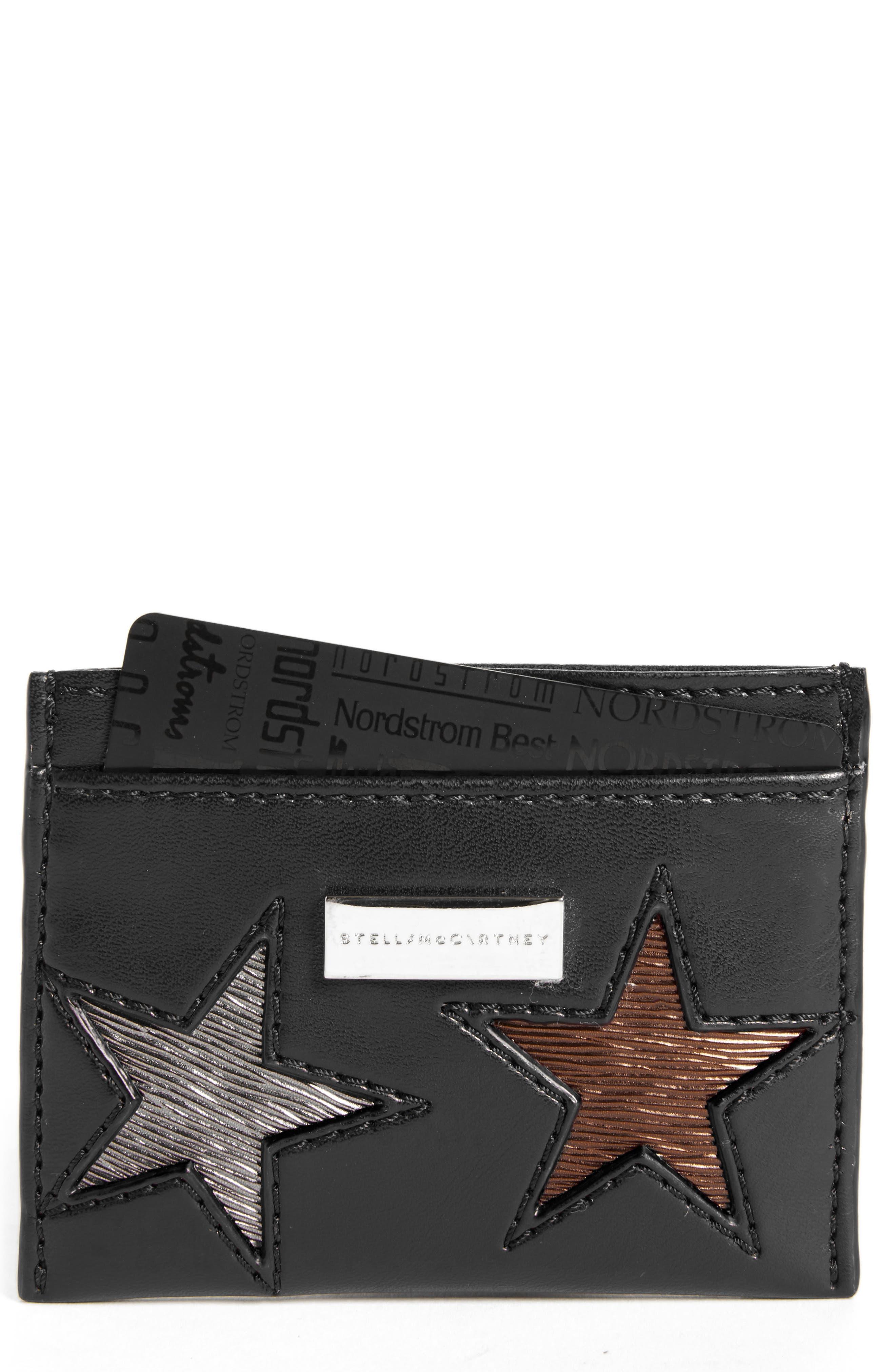 Falabella Star Cutout Faux Leather Card Case,                             Main thumbnail 1, color,                             001