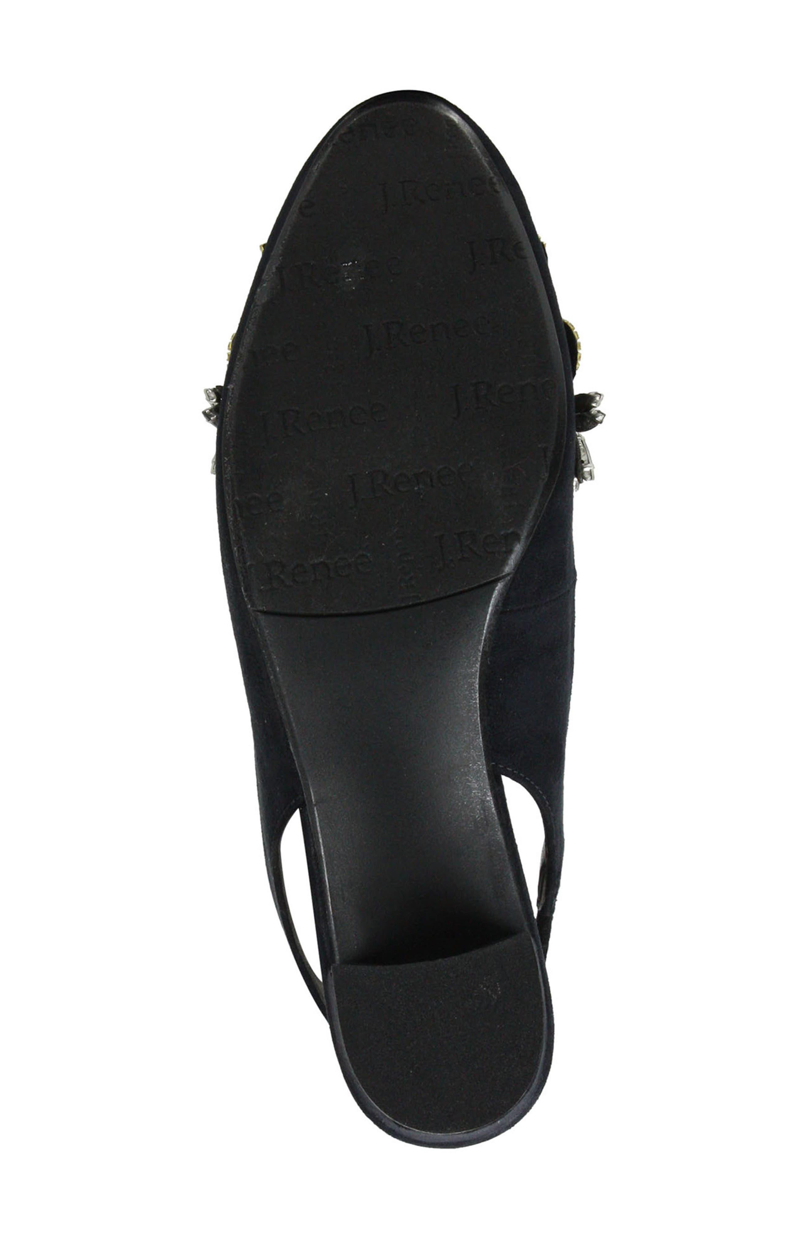 Delroy Embellished Slingback Pump,                             Alternate thumbnail 6, color,                             BLACK SUEDE/ WHITE PEARLS