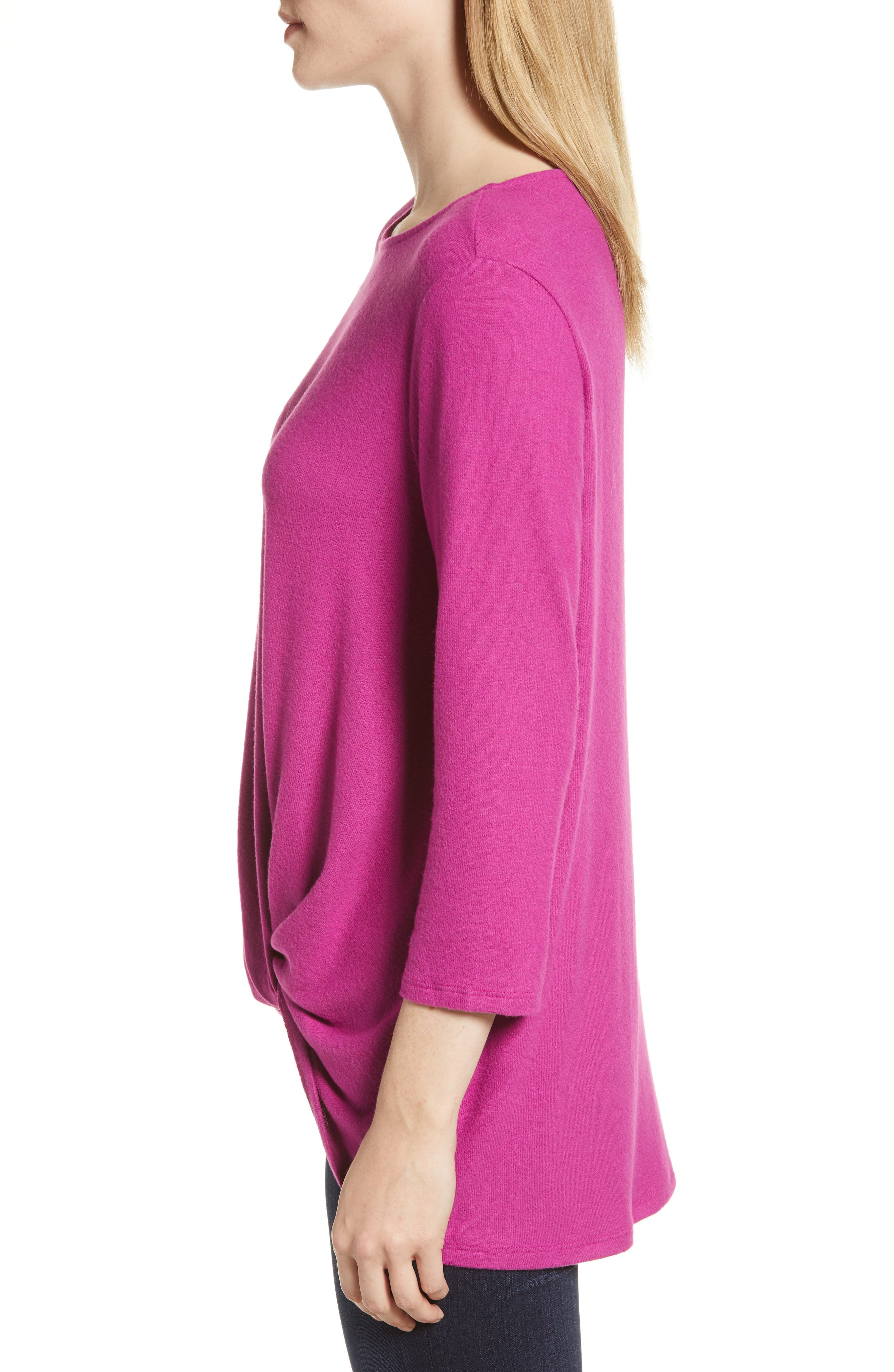 Cozy Twist Front Pullover,                             Alternate thumbnail 3, color,                             PURPLE VINTER SOLID