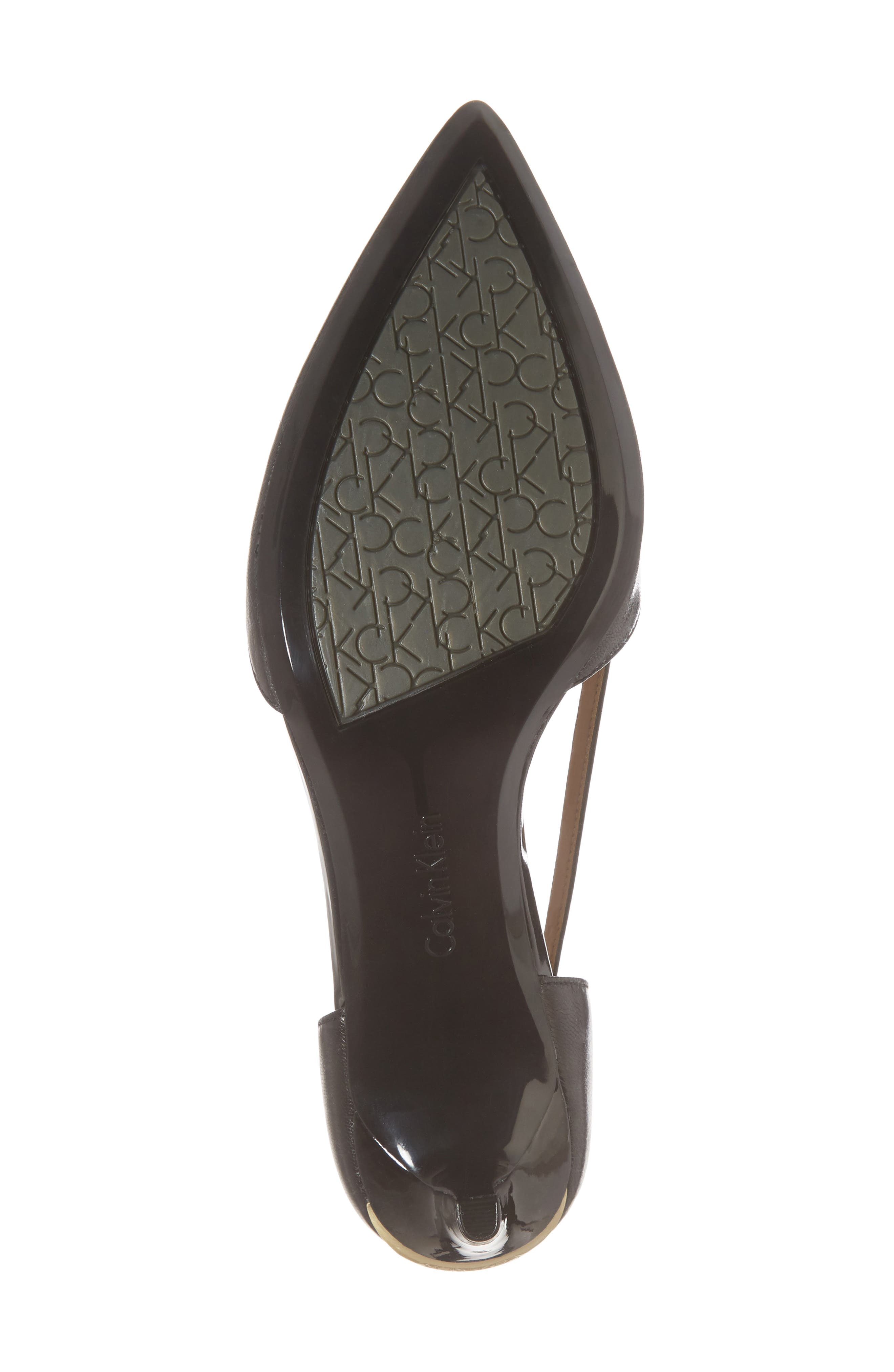 Pashka Strappy Open Sided Pump,                             Alternate thumbnail 6, color,                             BLACK LEATHER