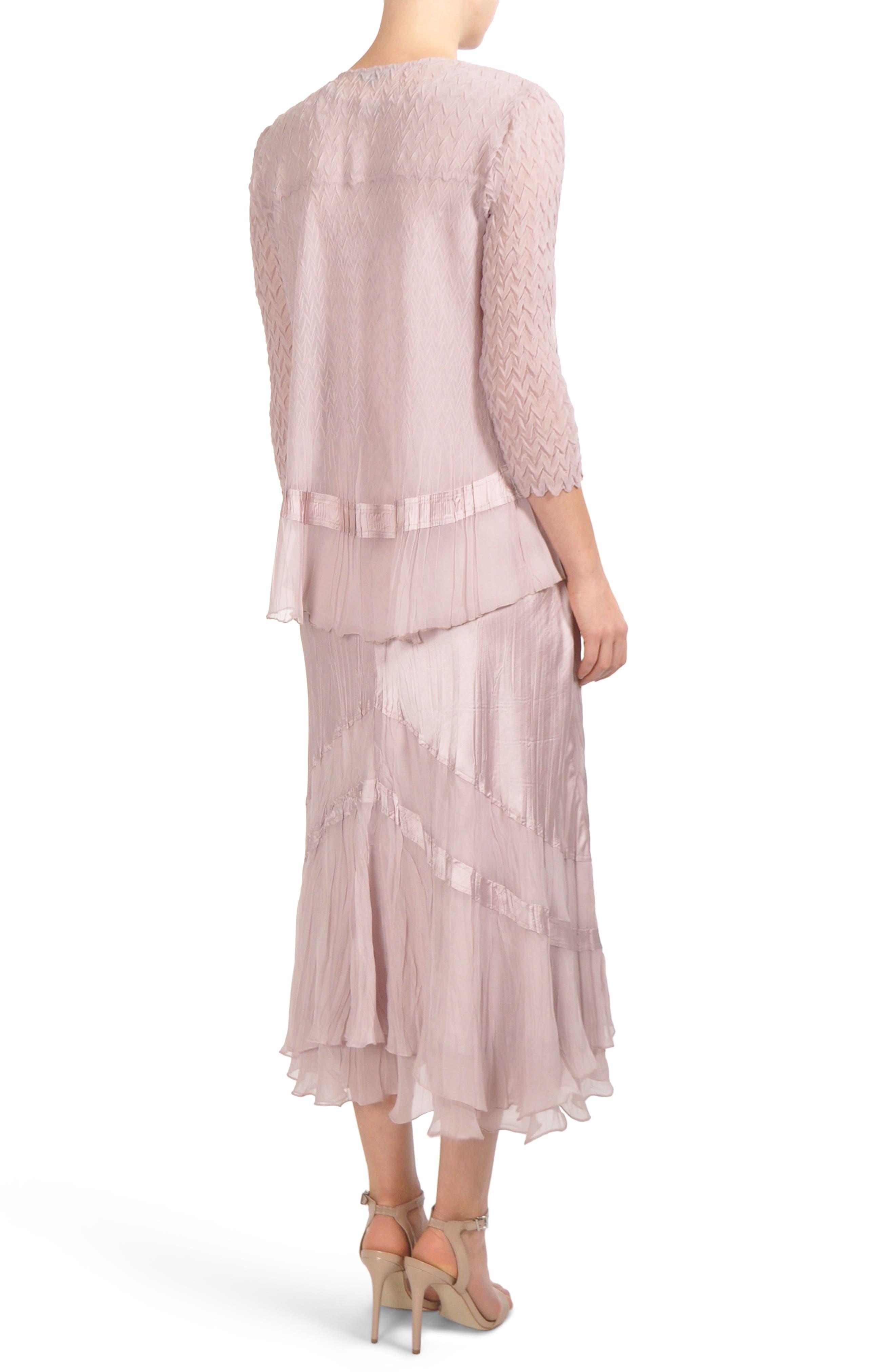 Embellished Tiered Hem Dress With Jacket,                             Alternate thumbnail 2, color,                             030
