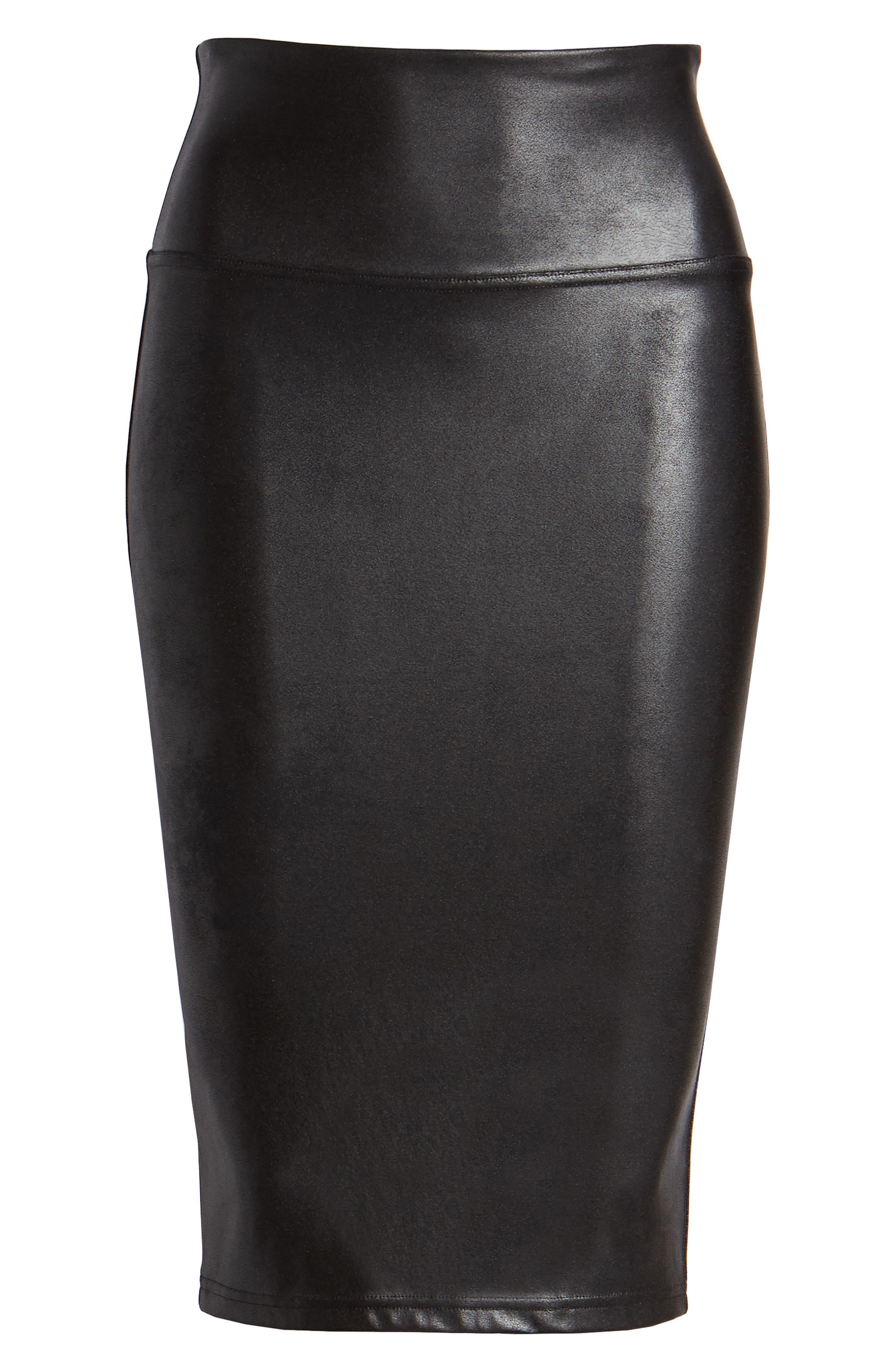 Faux Leather Pencil Skirt,                             Alternate thumbnail 6, color,                             VERY BLACK