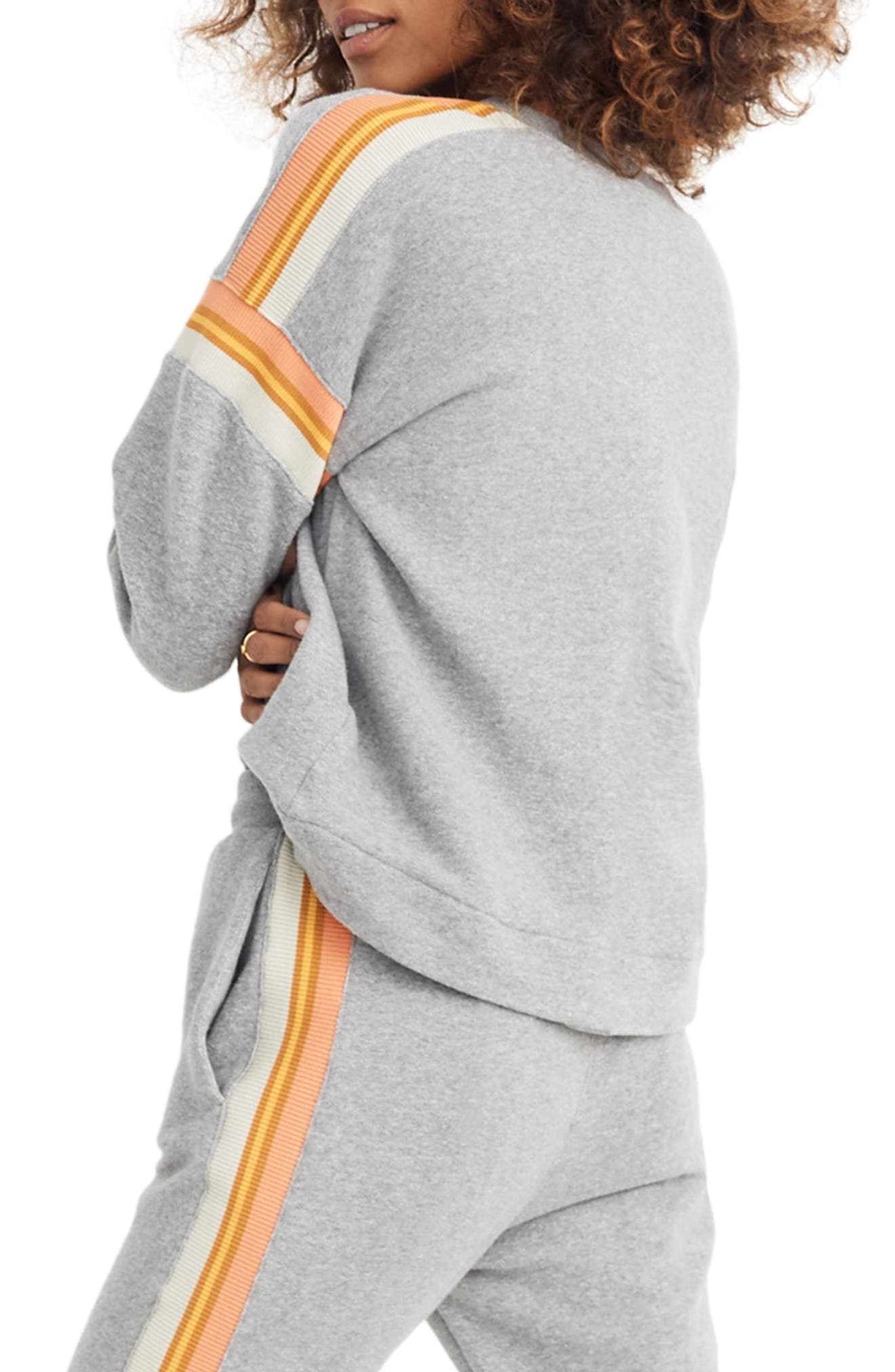 Madewell Stripe Inset Varsity Sweatshirt, Grey