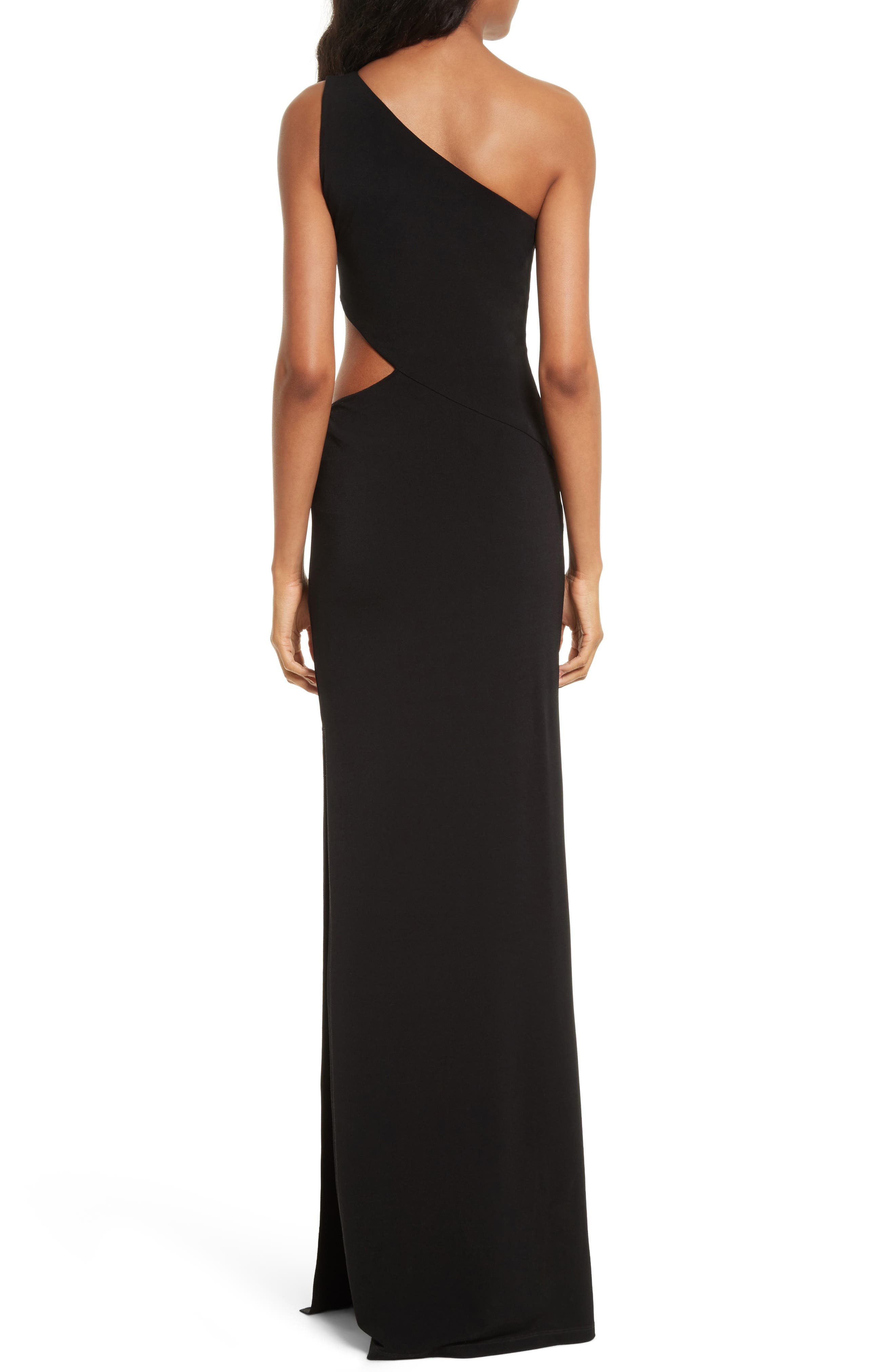Malia Cutout One-Shoulder Maxi Dress,                             Alternate thumbnail 2, color,                             001