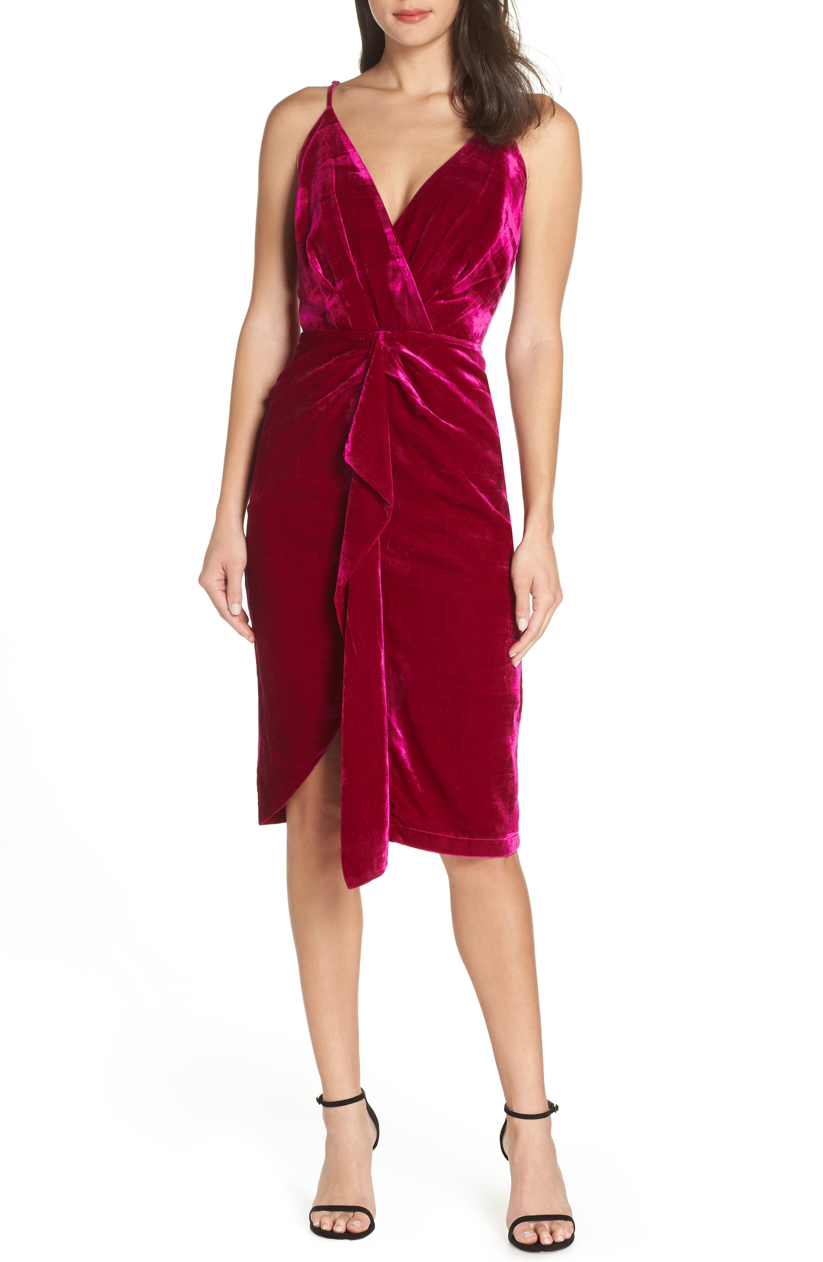 HARLYN Drape Midi Dress in Deep Magenta