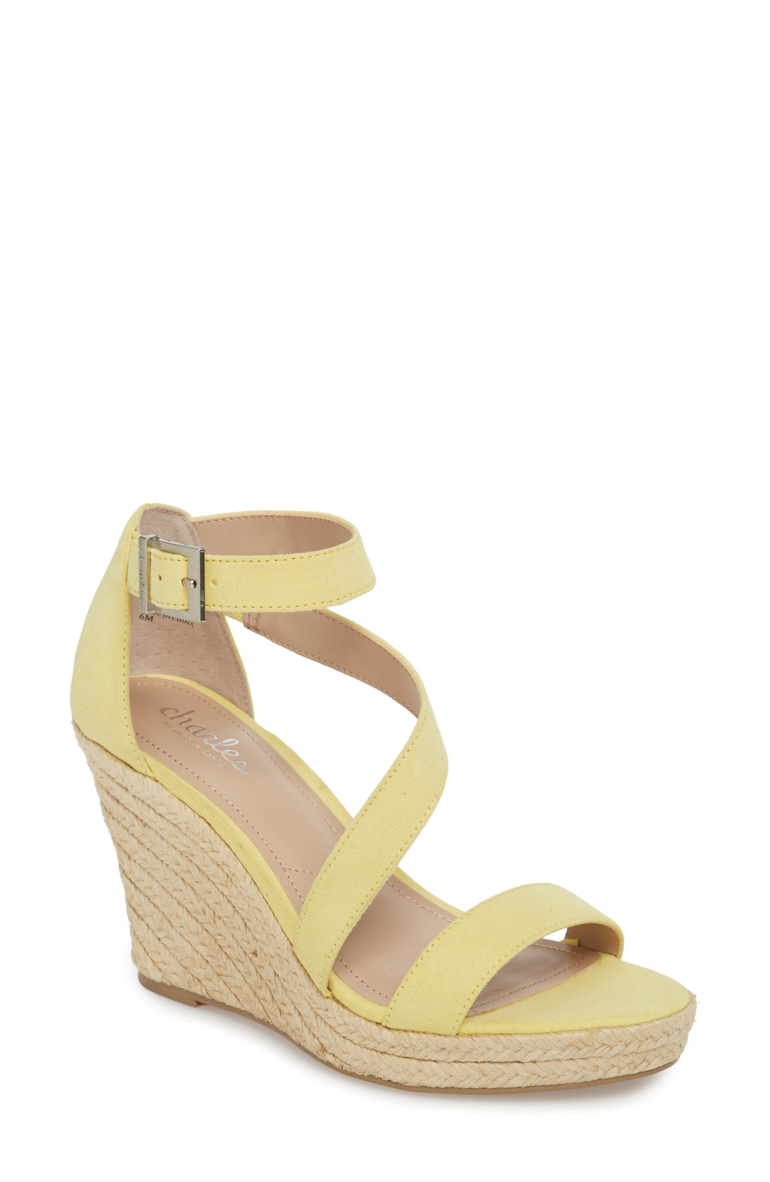 Lou Asymmetrical Wedge Sandal,                         Main,                         color, BUTTERCUP SUEDE