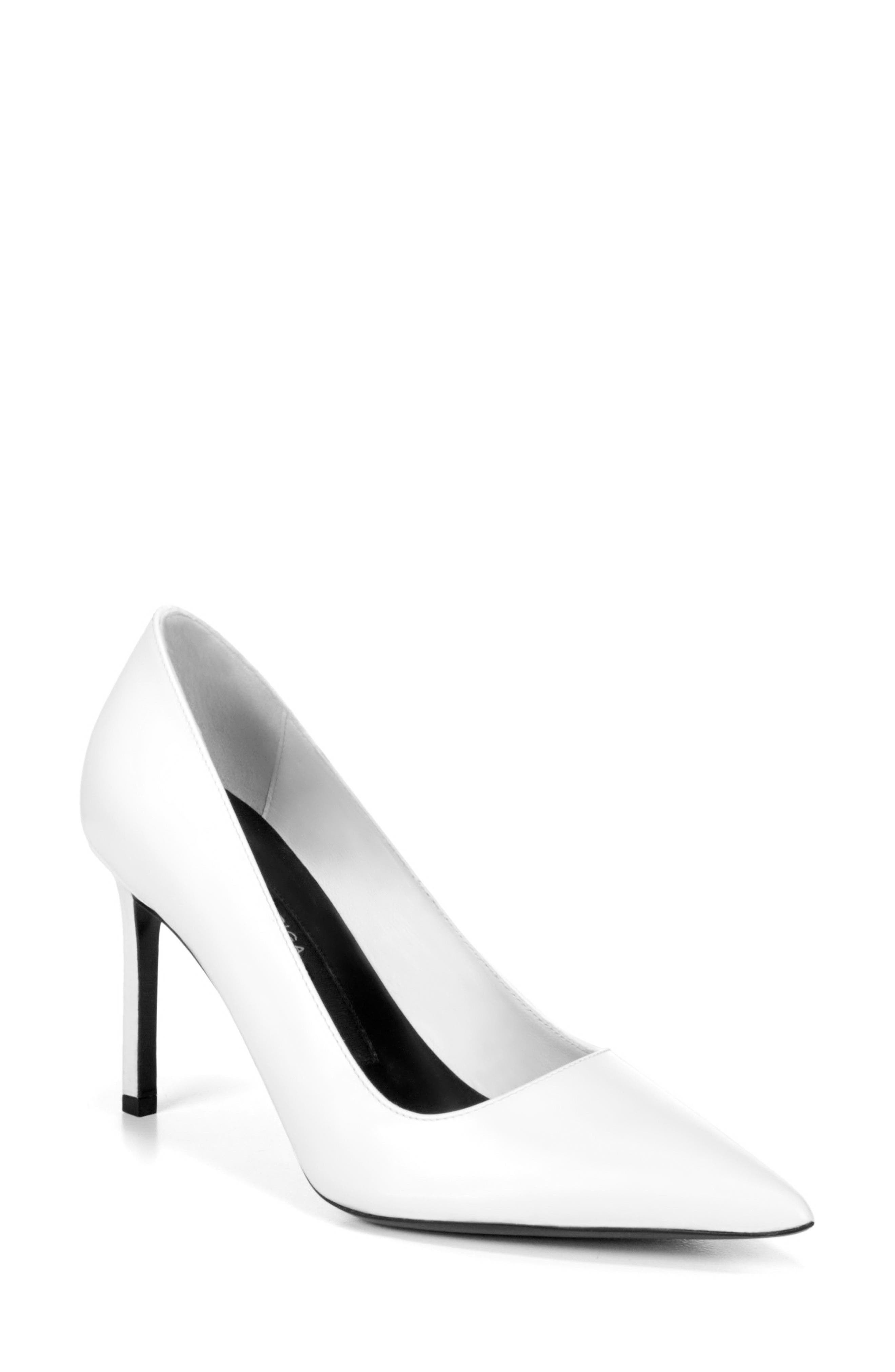Nikole Pointy Toe Pump,                             Main thumbnail 1, color,                             WHITE LEATHER