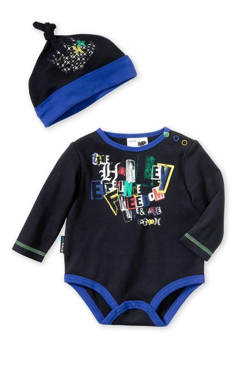 Hurley Long Sleeve Bodysuit   Hat (Infant)  671403b0f73