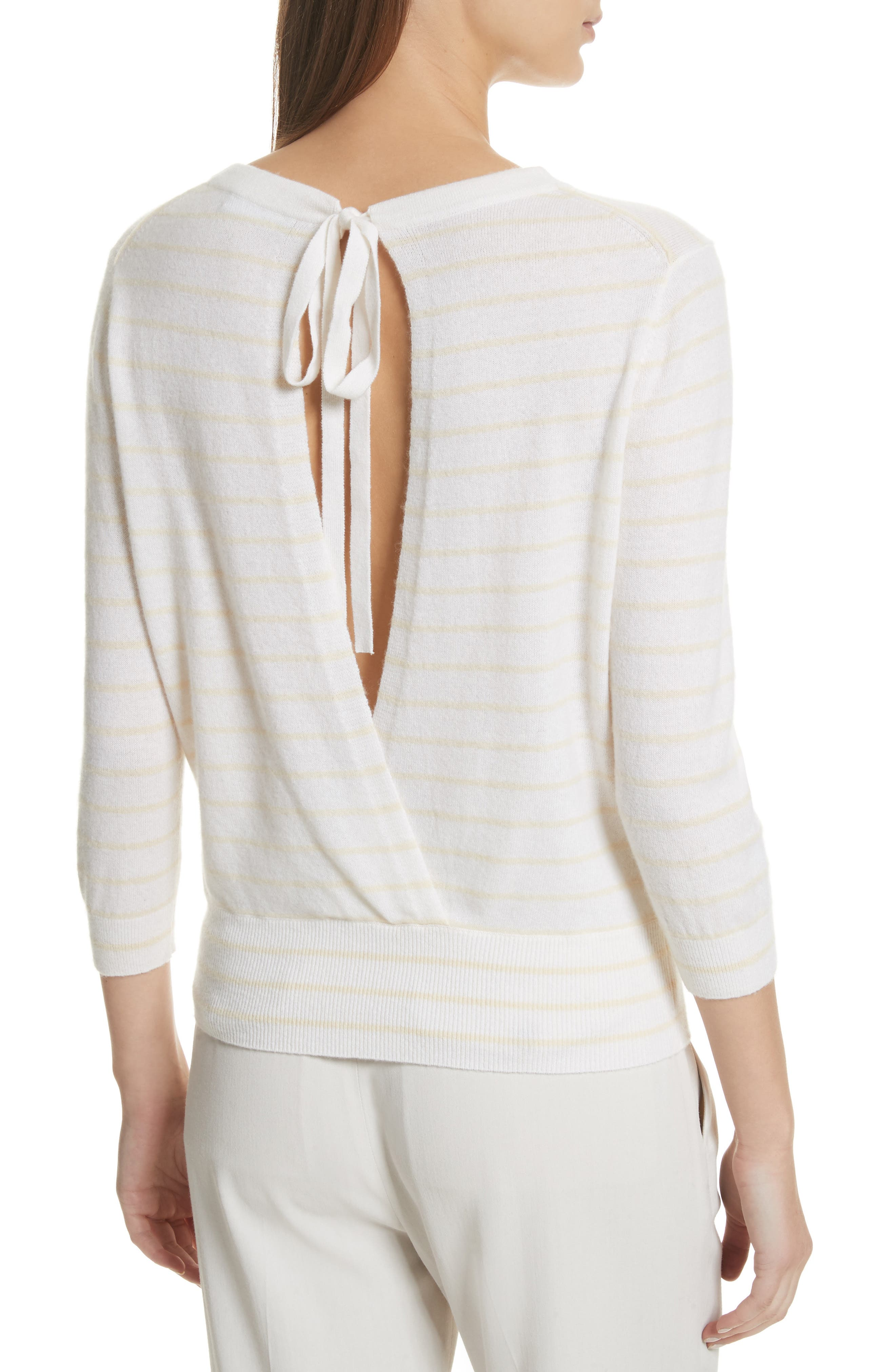 Stripe Cashmere Tie Back Sweater,                             Alternate thumbnail 2, color,                             195