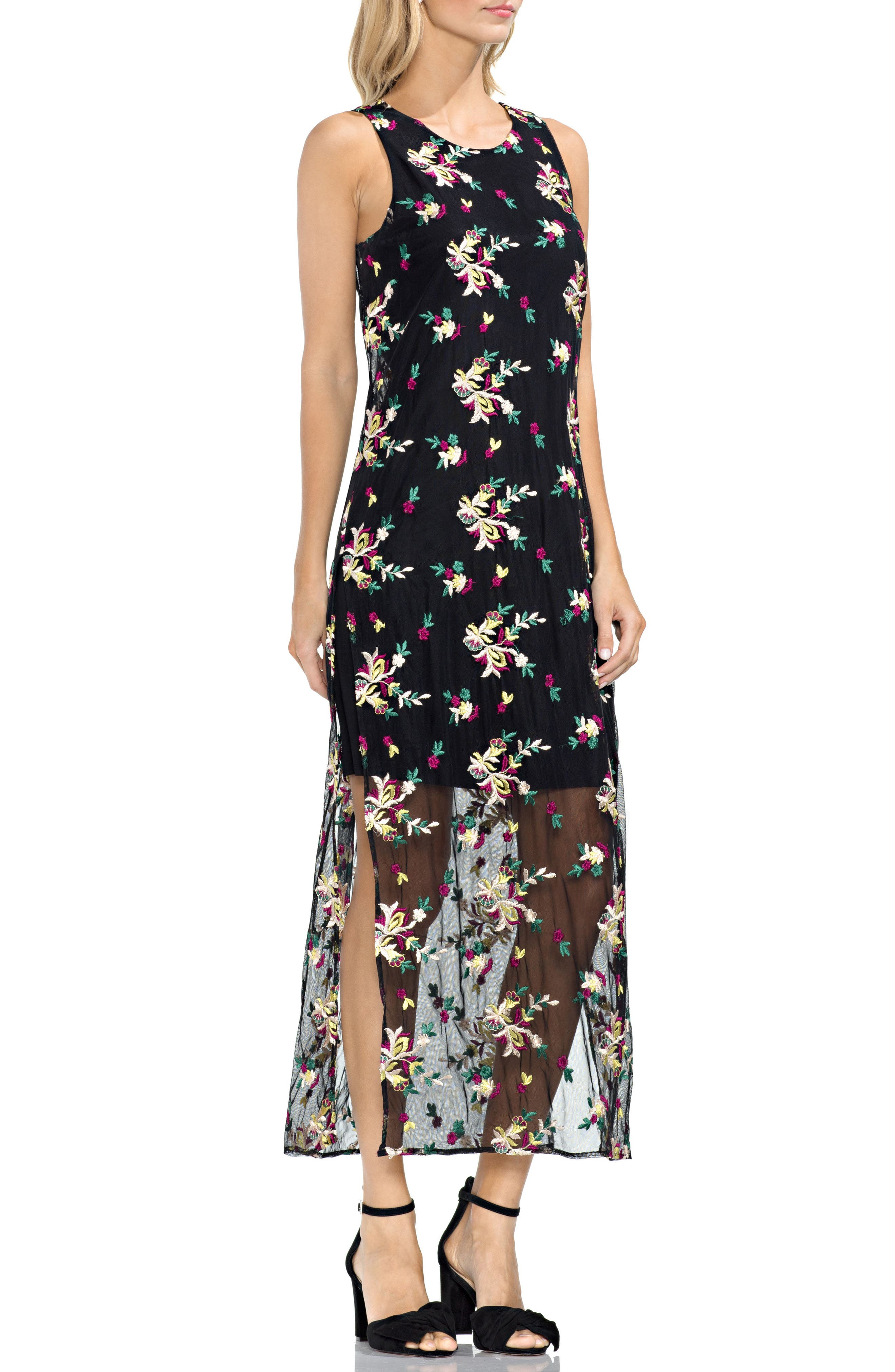 Tropical Embroidered Mesh Overlay Dress,                         Main,                         color, 001