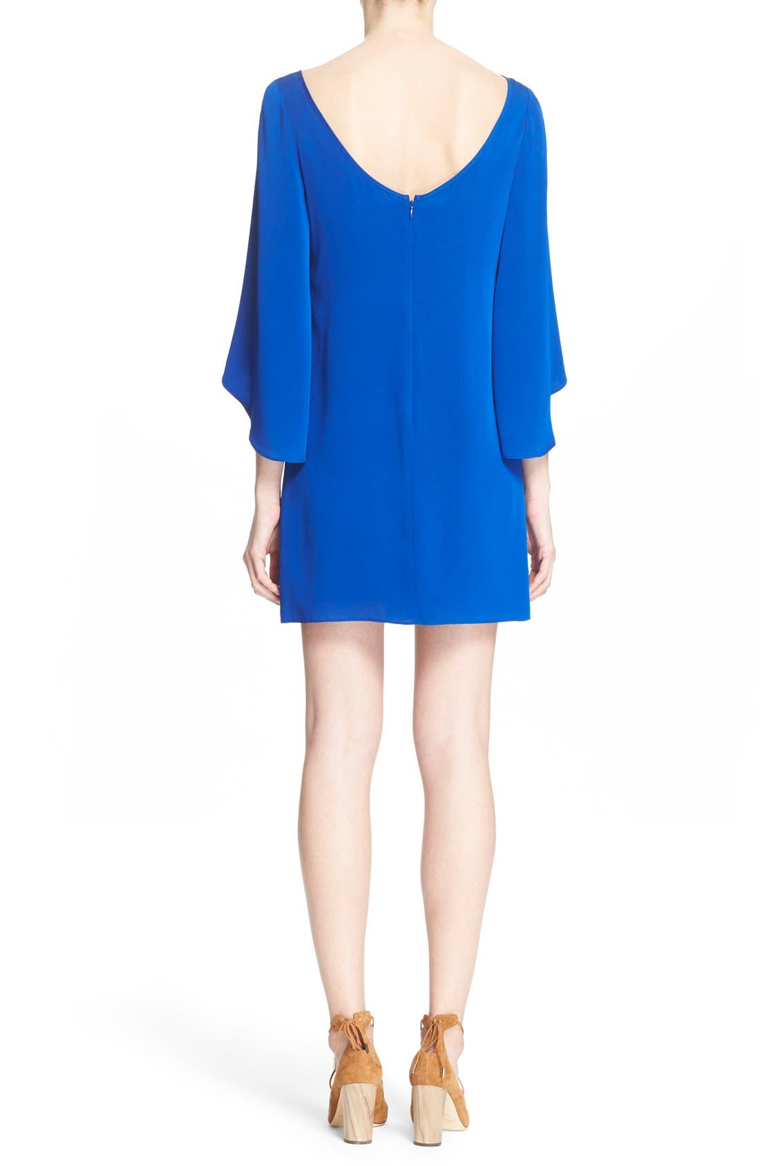 Butterfly Sleeve Stretch Silk Crepe Minidress,                             Alternate thumbnail 8, color,