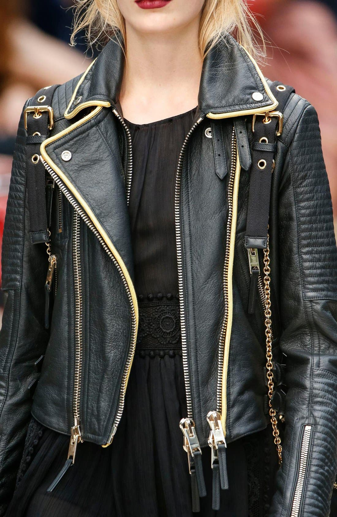 'Classic' Lambskin Leather Biker Jacket,                             Alternate thumbnail 4, color,                             001