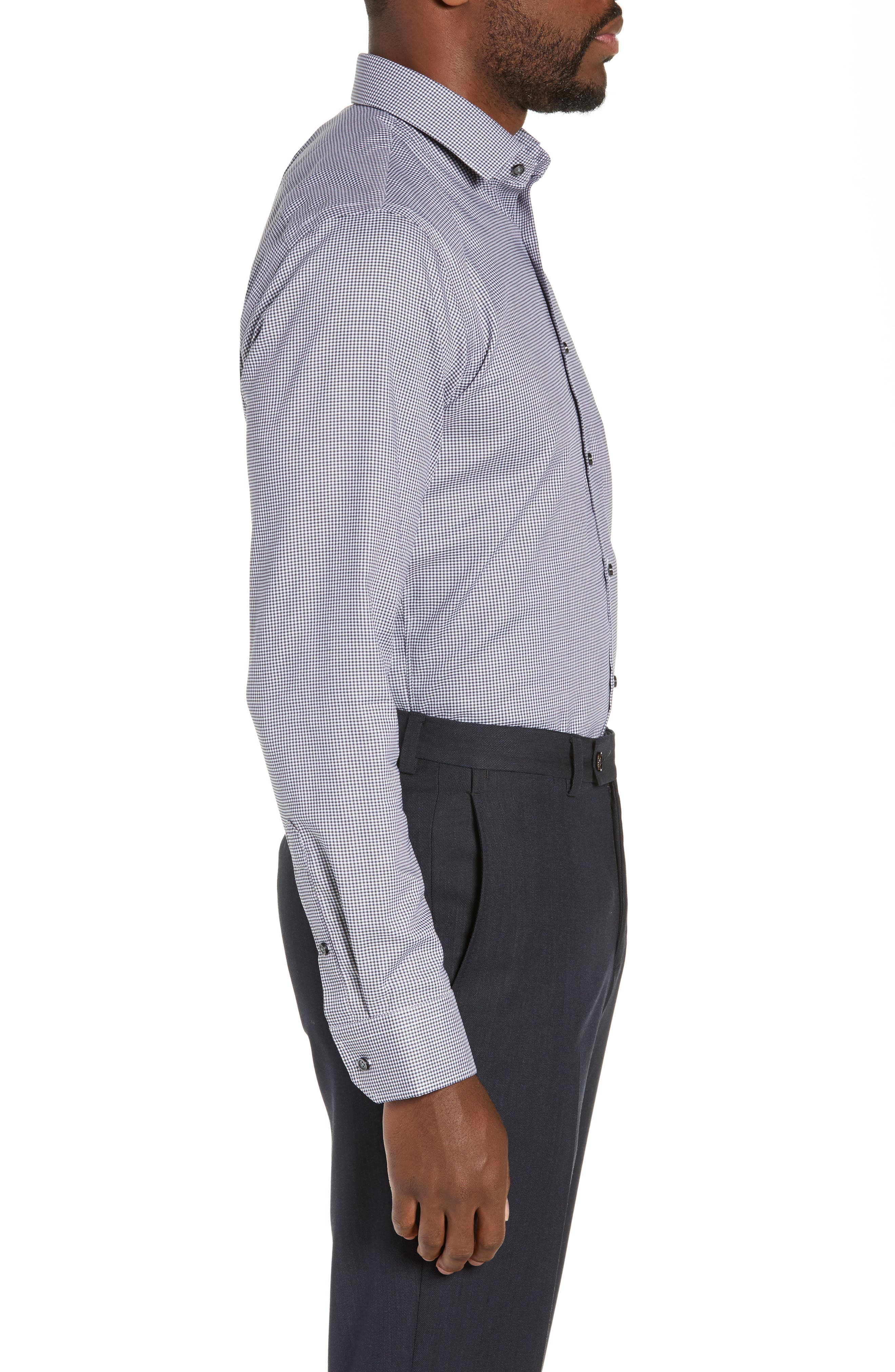 Trim Fit No-Iron Solid Dress Shirt,                             Alternate thumbnail 4, color,                             NAVY CHARCOAL