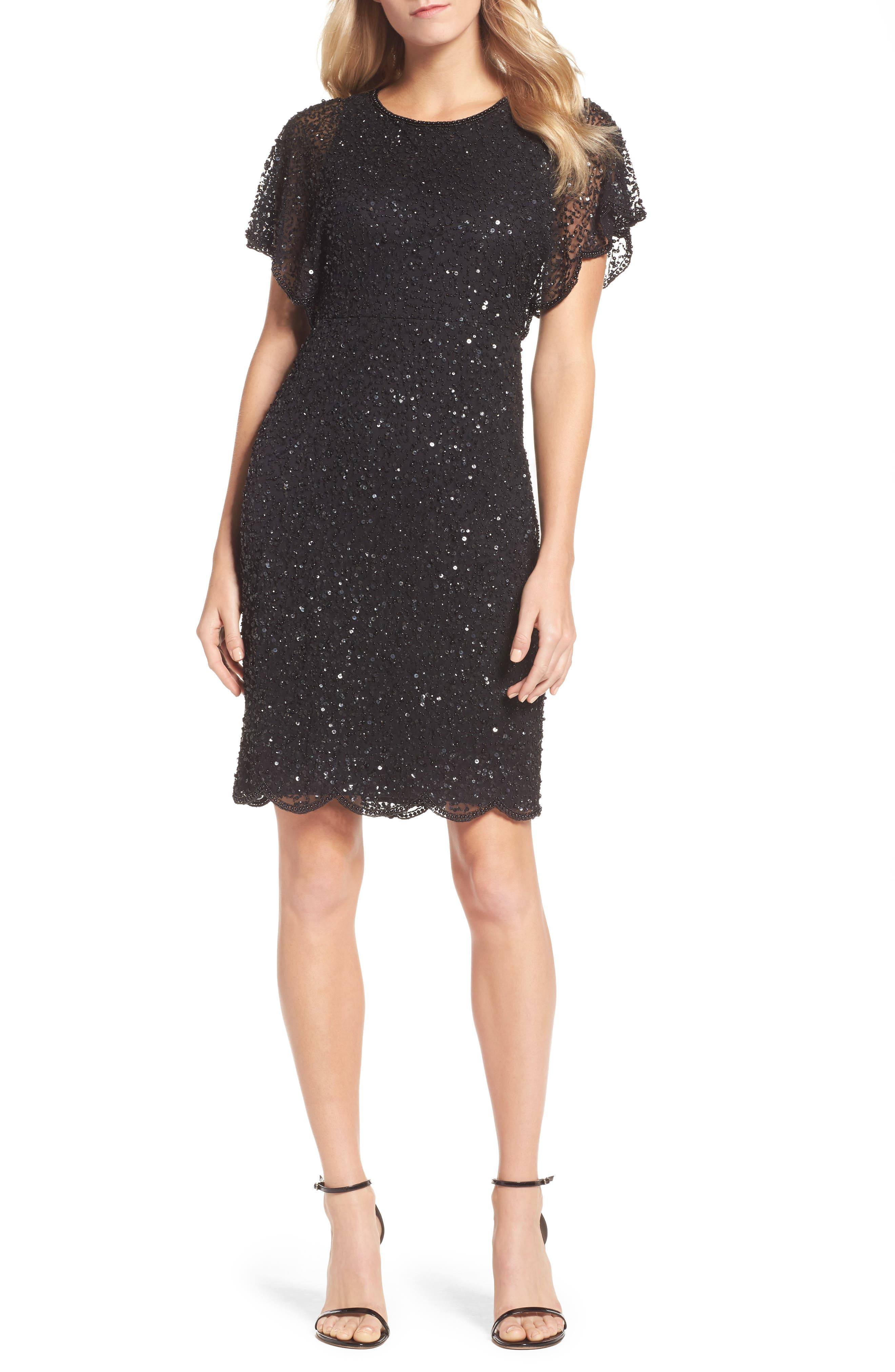 Embellished Flutter Sleeve Cocktail Dress,                         Main,                         color, 002