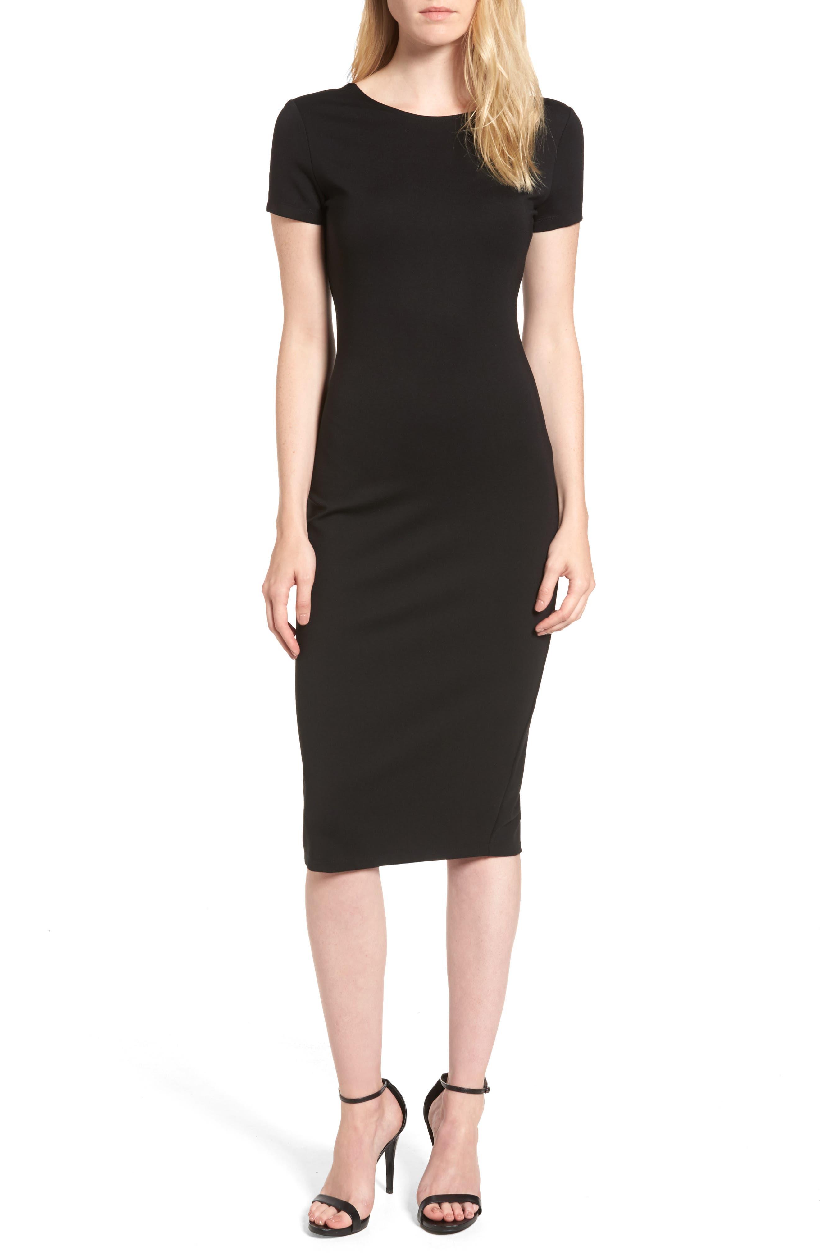 Ponte Sheath Dress,                             Main thumbnail 1, color,                             BLACK