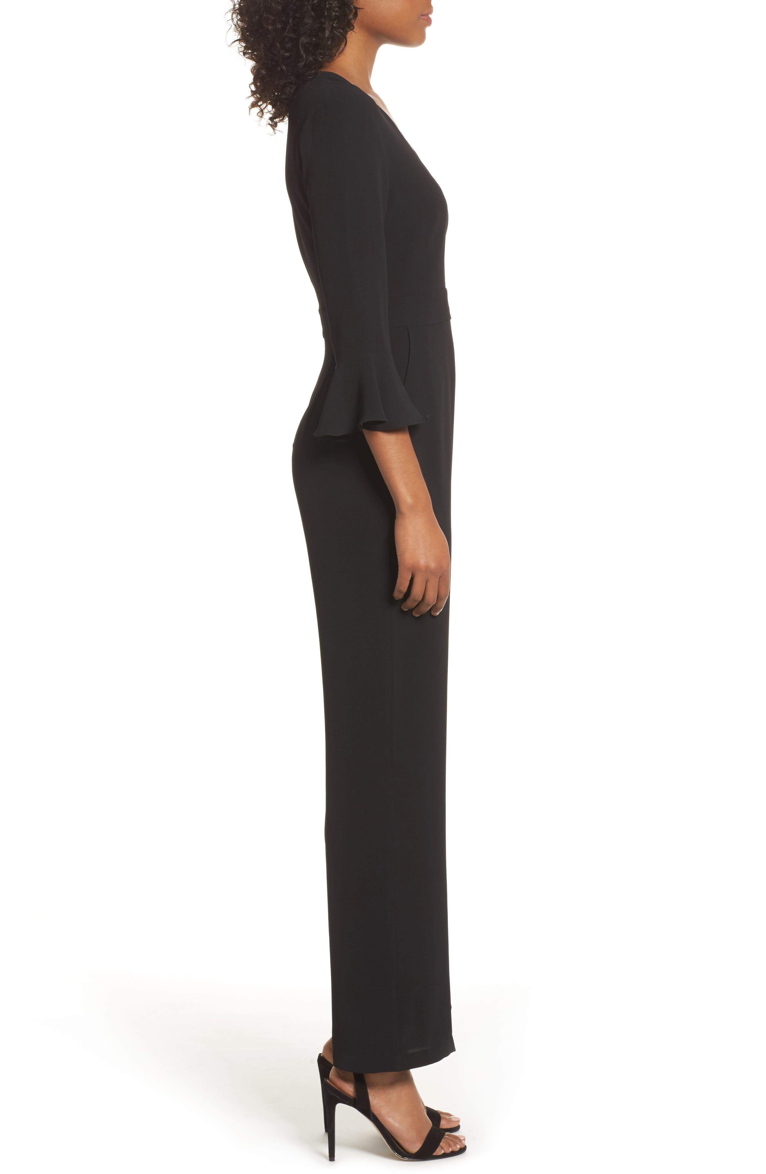 Flare Cuff Jumpsuit,                             Alternate thumbnail 3, color,                             001