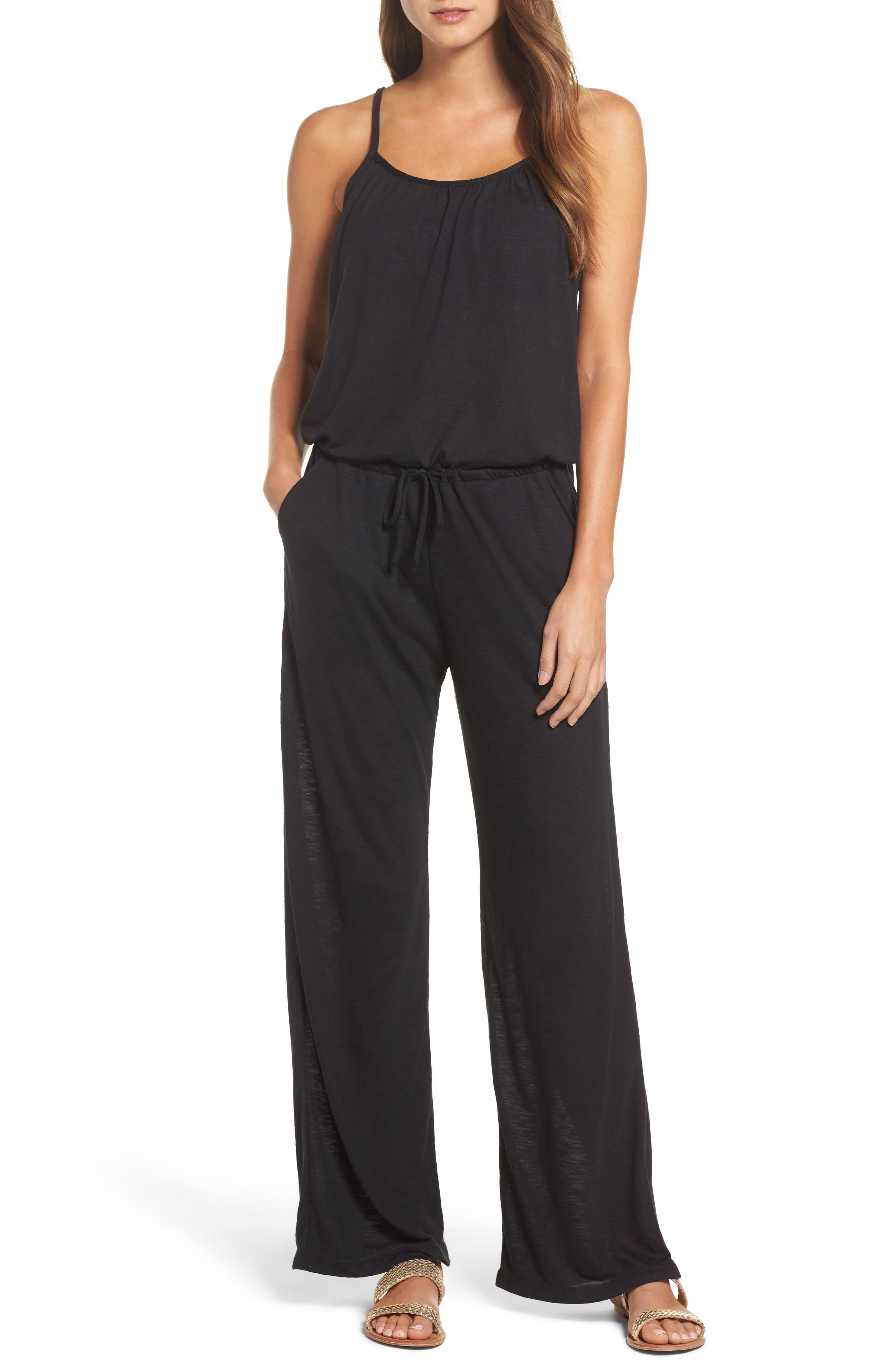 Breezy Basics Jumpsuit,                         Main,                         color, BLACK