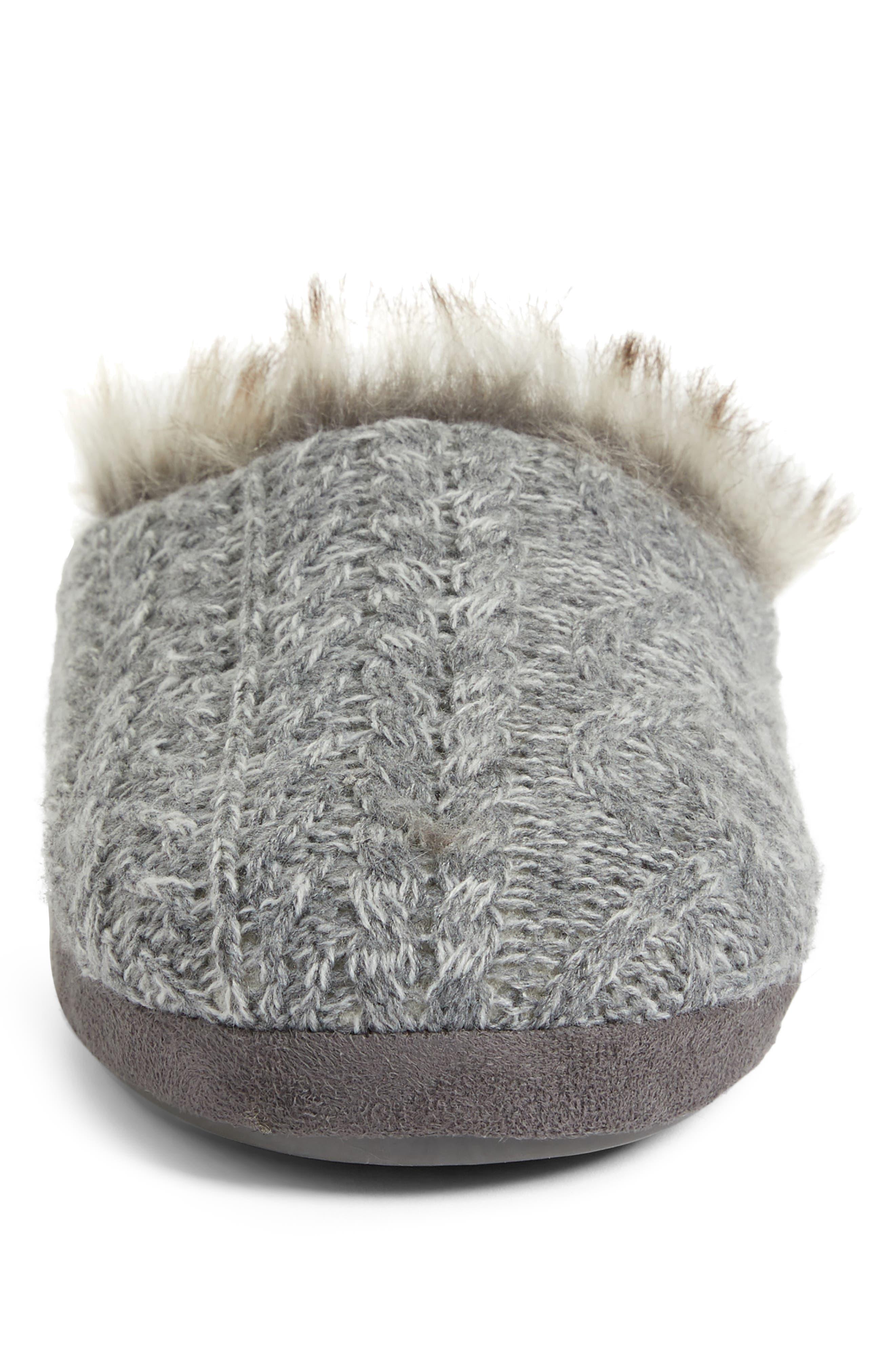 Faux Fur Trim Cable Knit Slipper,                             Alternate thumbnail 4, color,                             HEATHER GREY