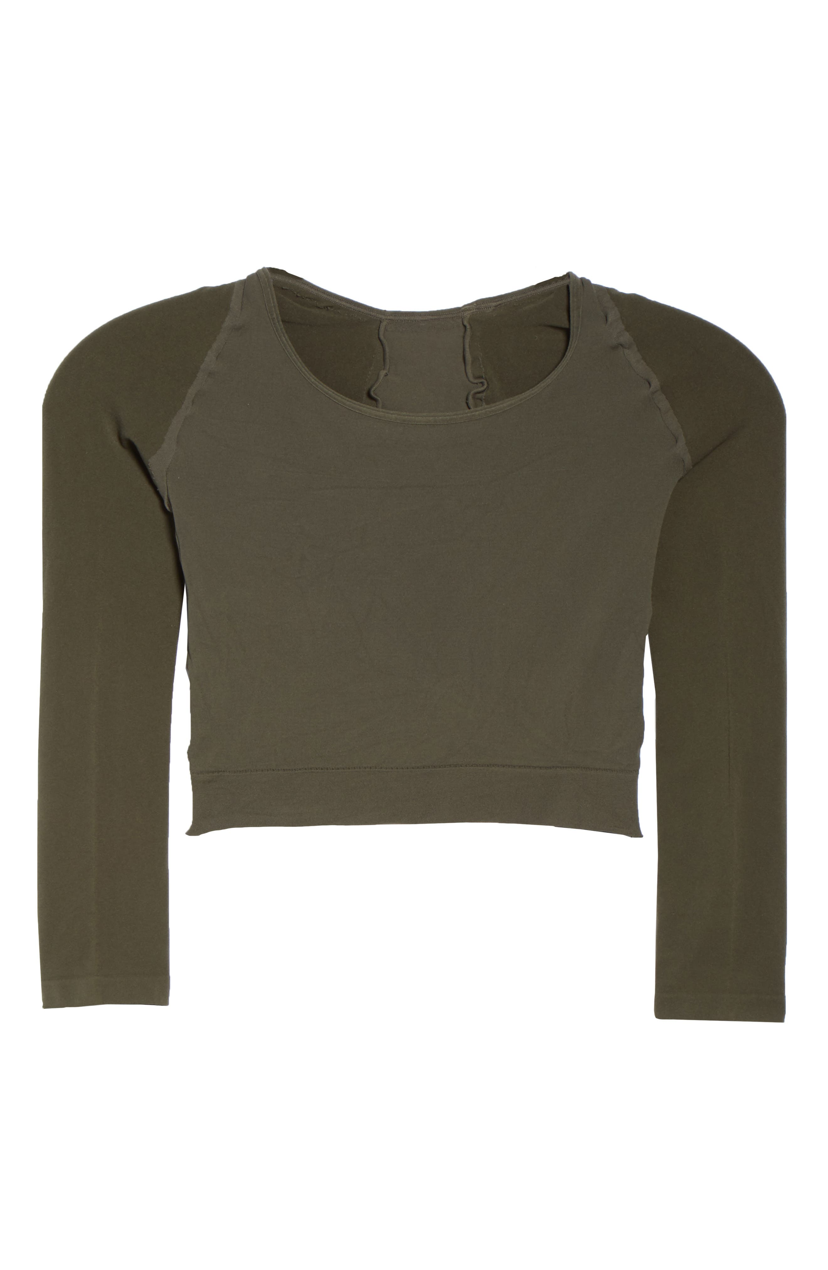 Arm Tights<sup>™</sup> Crop Top,                             Alternate thumbnail 6, color,                             DARK OLIVE