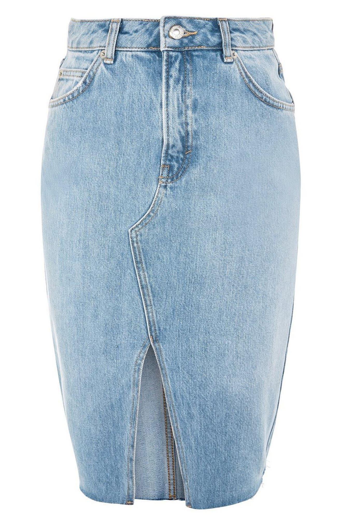 Denim Midi Skirt,                             Alternate thumbnail 3, color,                             MID DENIM