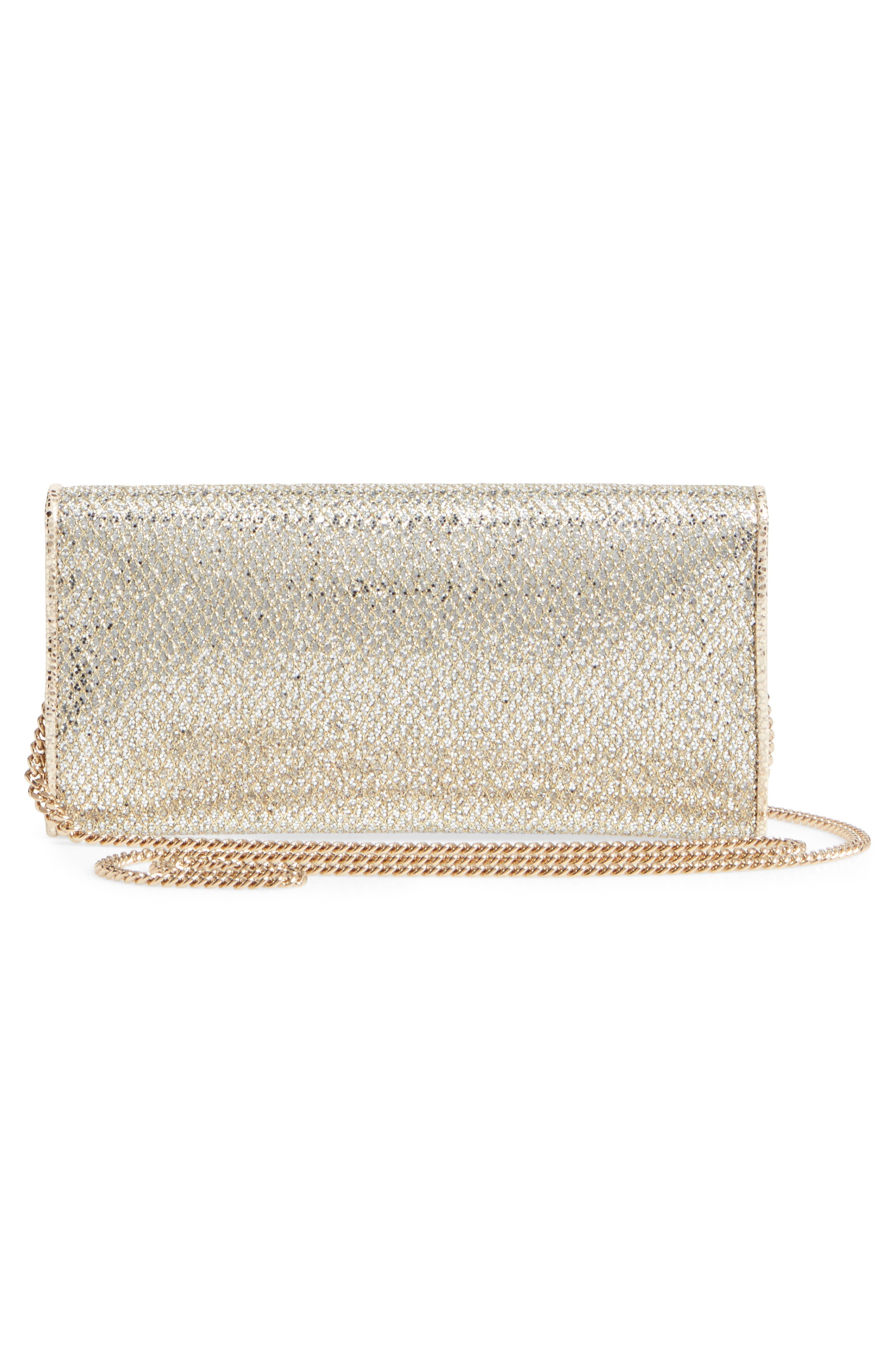 'Milla' Glitter Wallet on a Chain,                             Alternate thumbnail 2, color,                             CHAMPAGNE