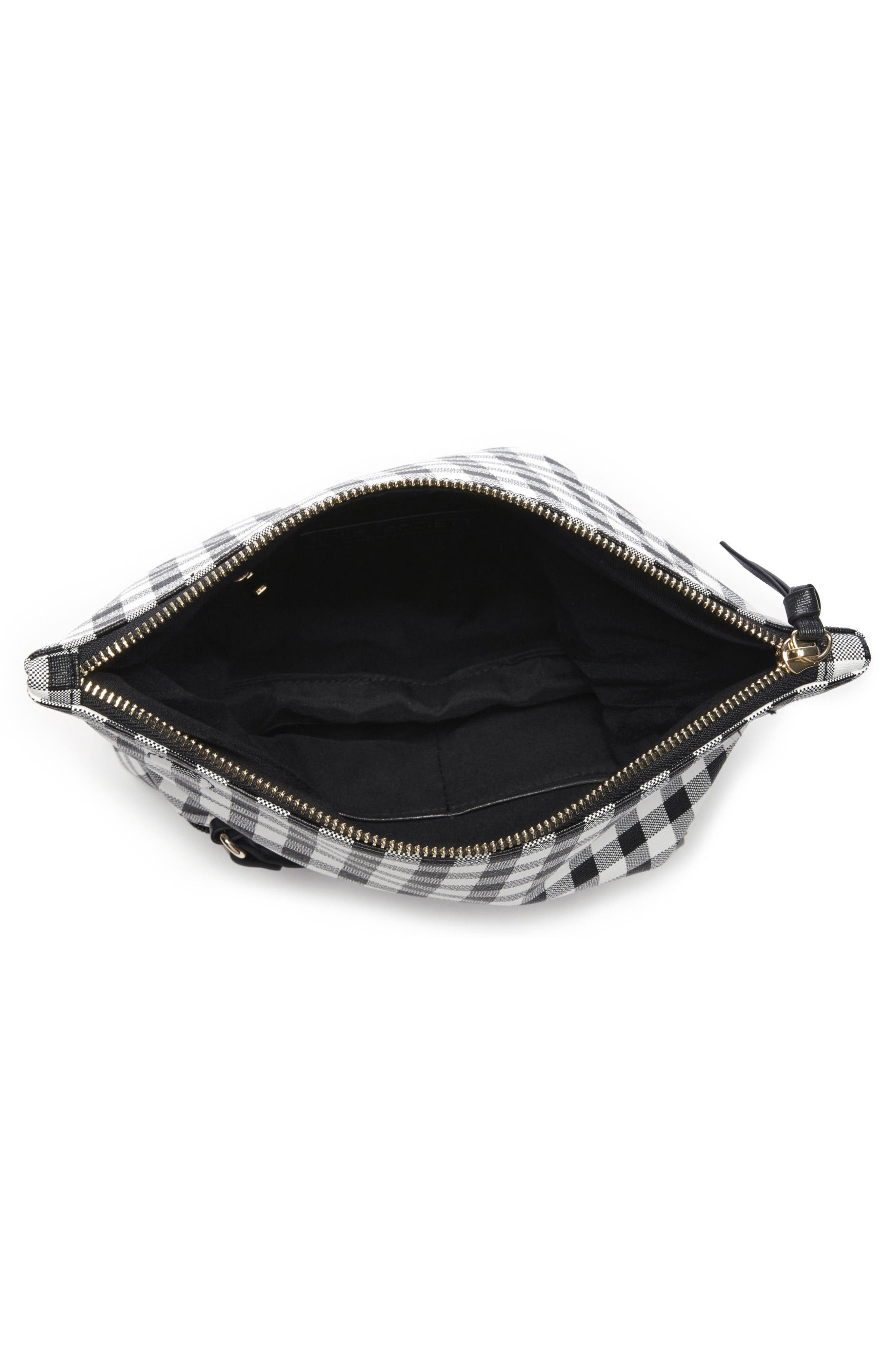 Faux Leather Foldover Clutch,                             Alternate thumbnail 3, color,                             001