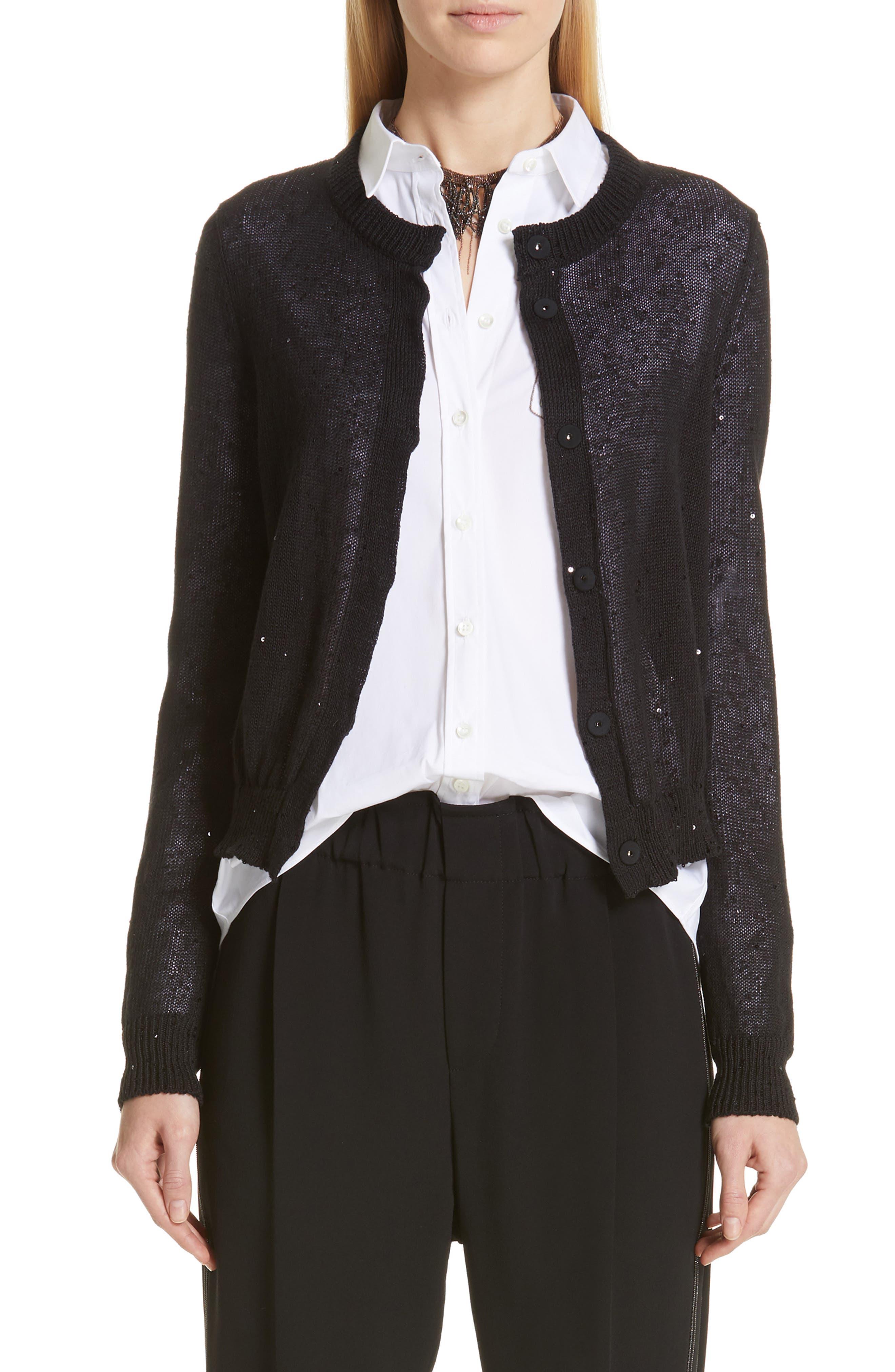 Sequin Linen & Silk Crop Cardigan,                             Main thumbnail 1, color,                             BLACK