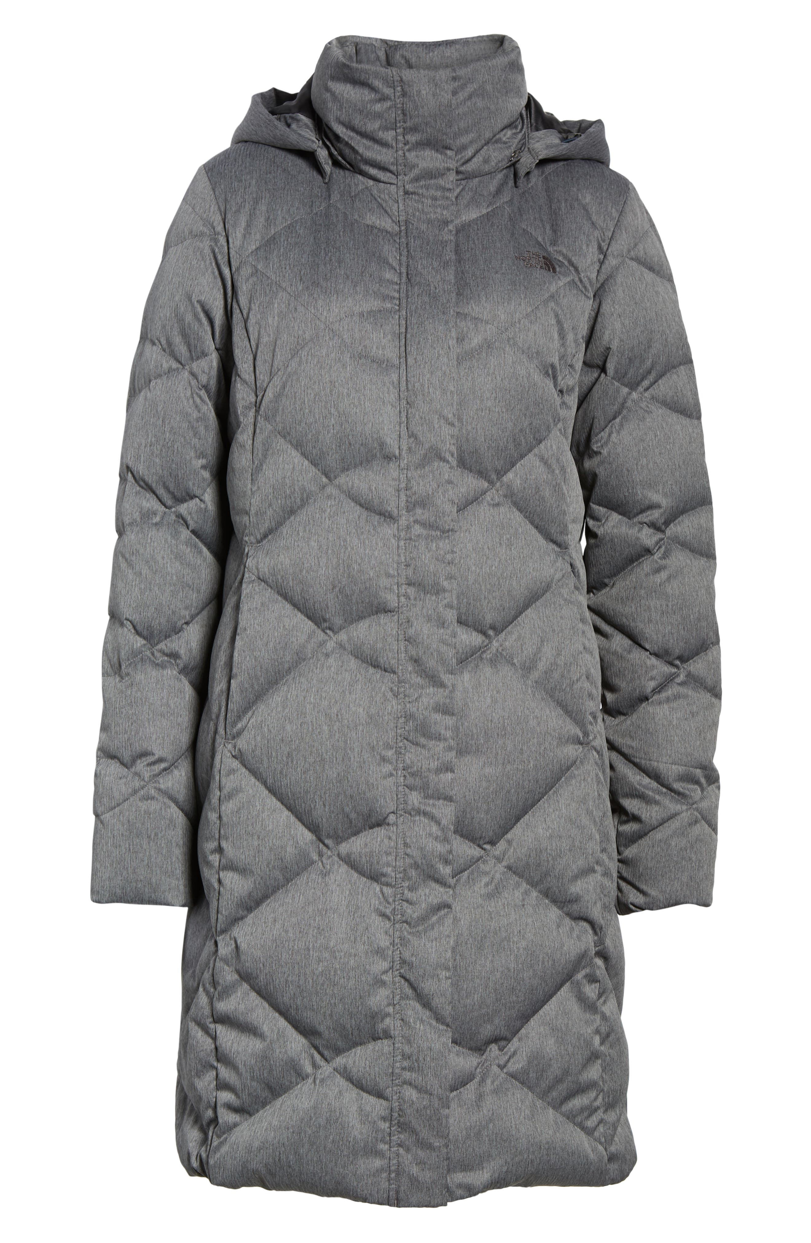 Miss Metro II Water Repellent 550 Fill Power Down Hooded Parka,                             Alternate thumbnail 7, color,                             TNF DARK GREY HEATHER