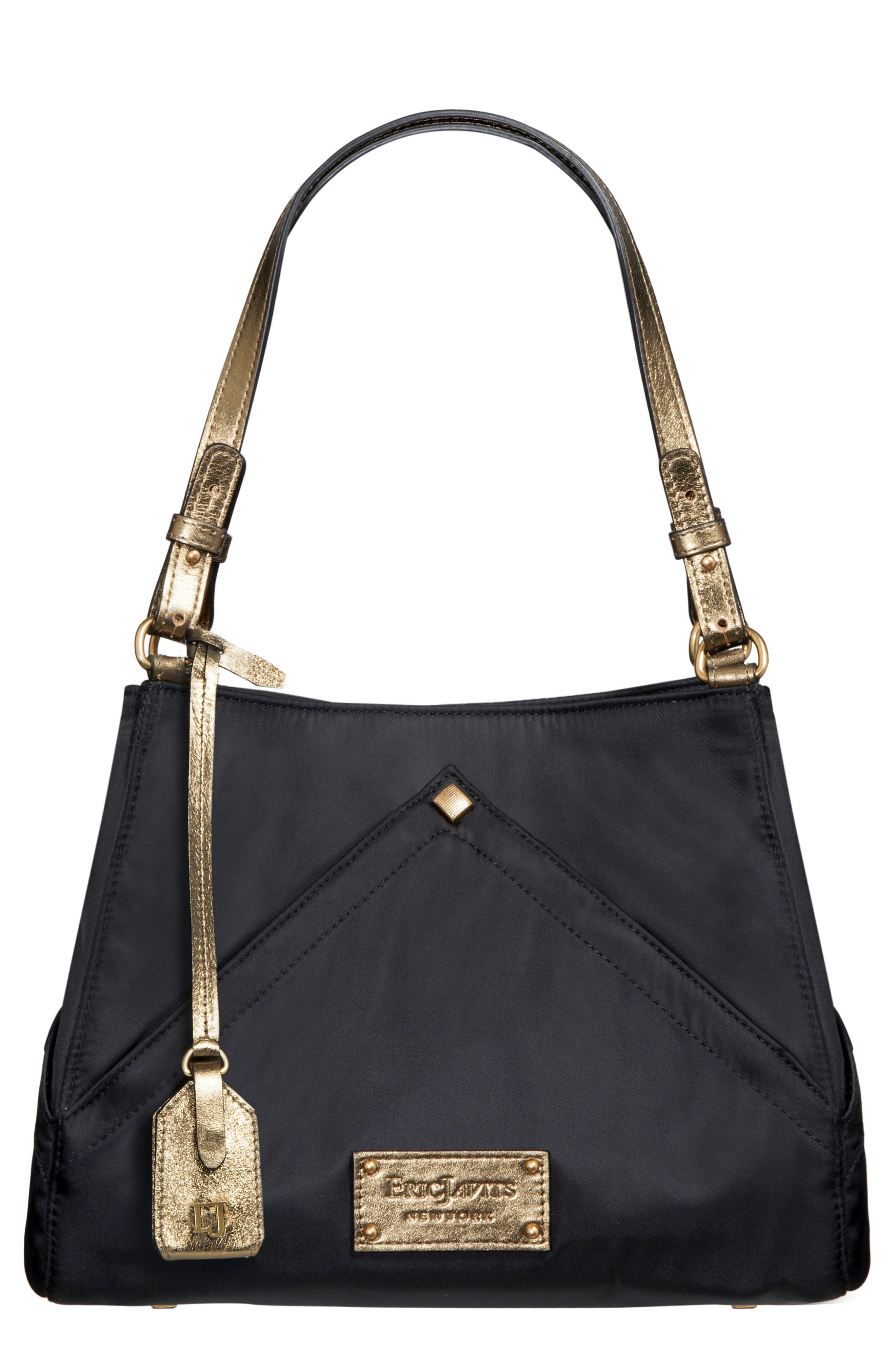 ERIC JAVITS Peyton Microfiber & Leather Shoulder Bag in Black/ Bronze