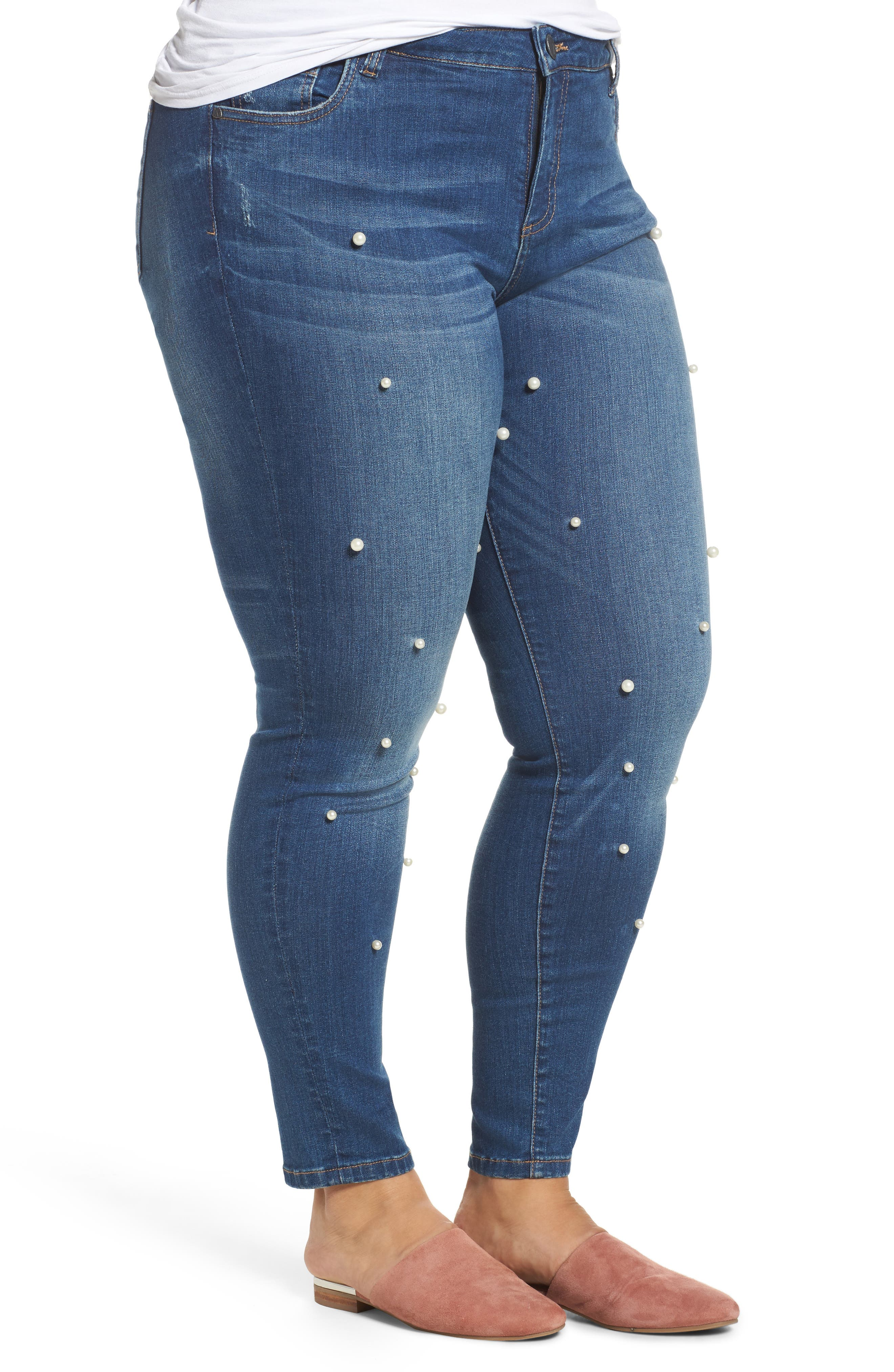 Brigitte Embellished Skinny Ankle Jeans,                             Alternate thumbnail 3, color,                             BEWITCHING