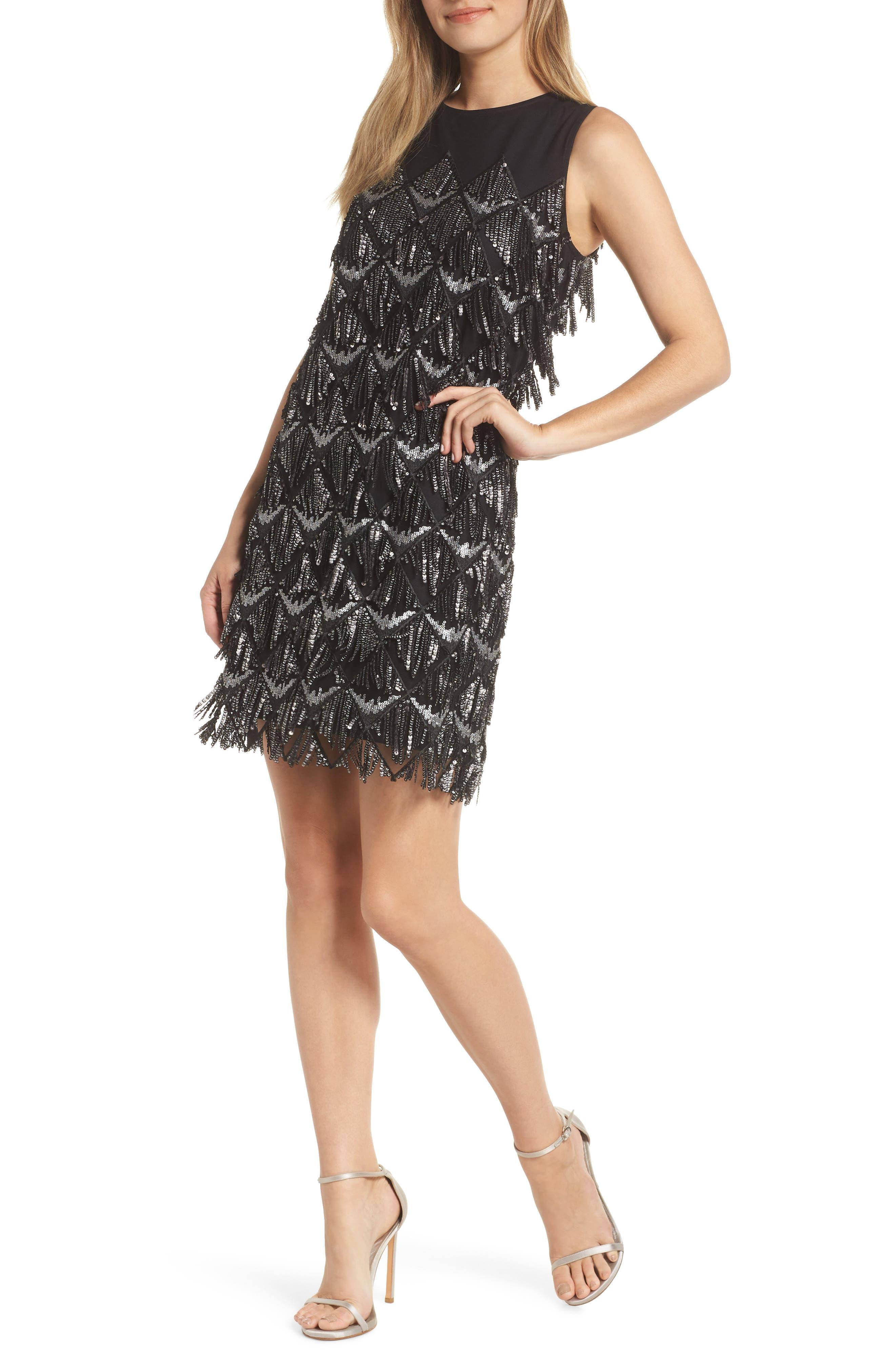 1920s Evening Dresses & Formal Gowns Womens Julia Jordan Sequin Fringe Sheath Dress Size 10 - Black $138.00 AT vintagedancer.com