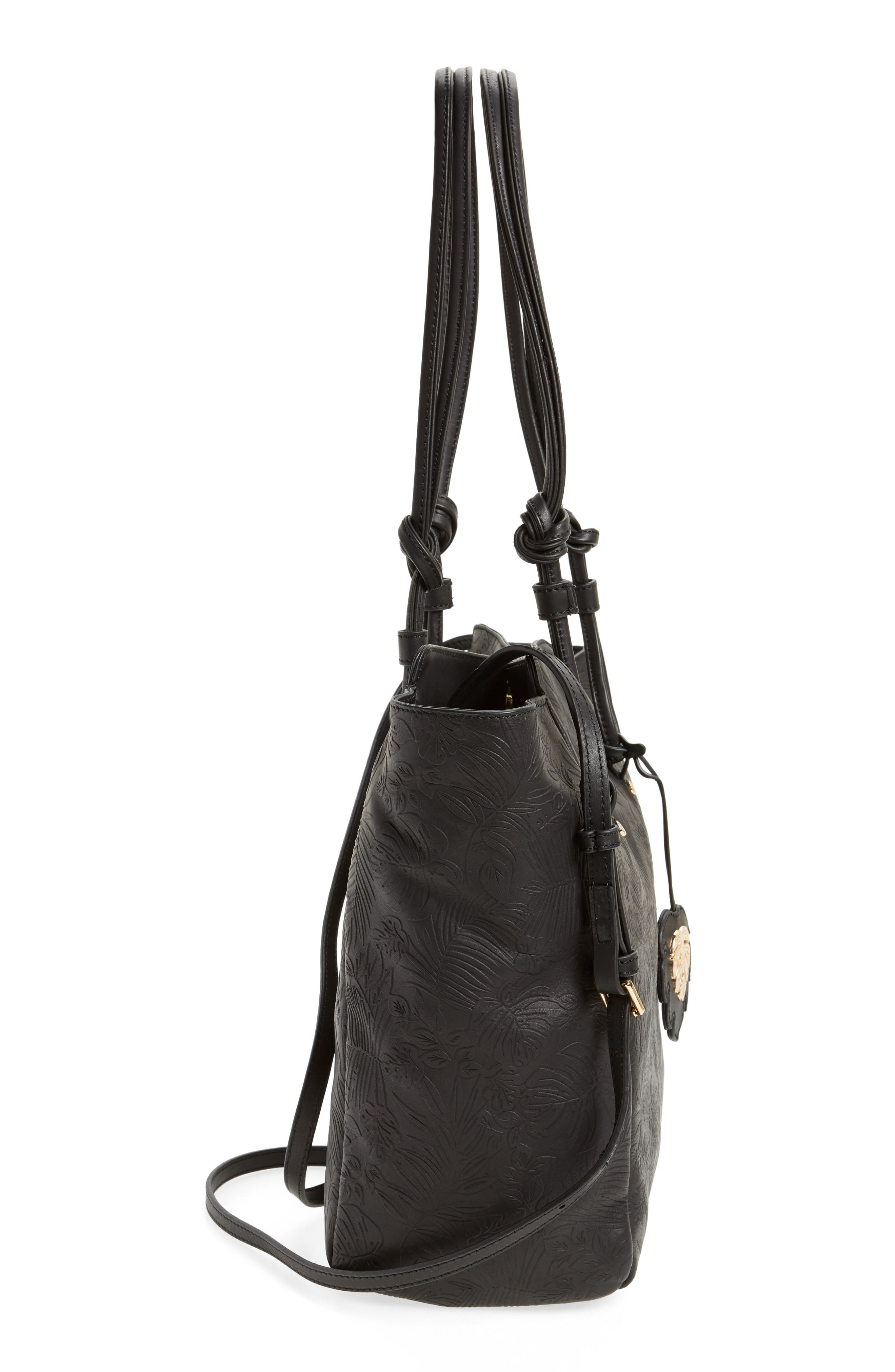 Embossed Leather Tote,                             Alternate thumbnail 5, color,                             001