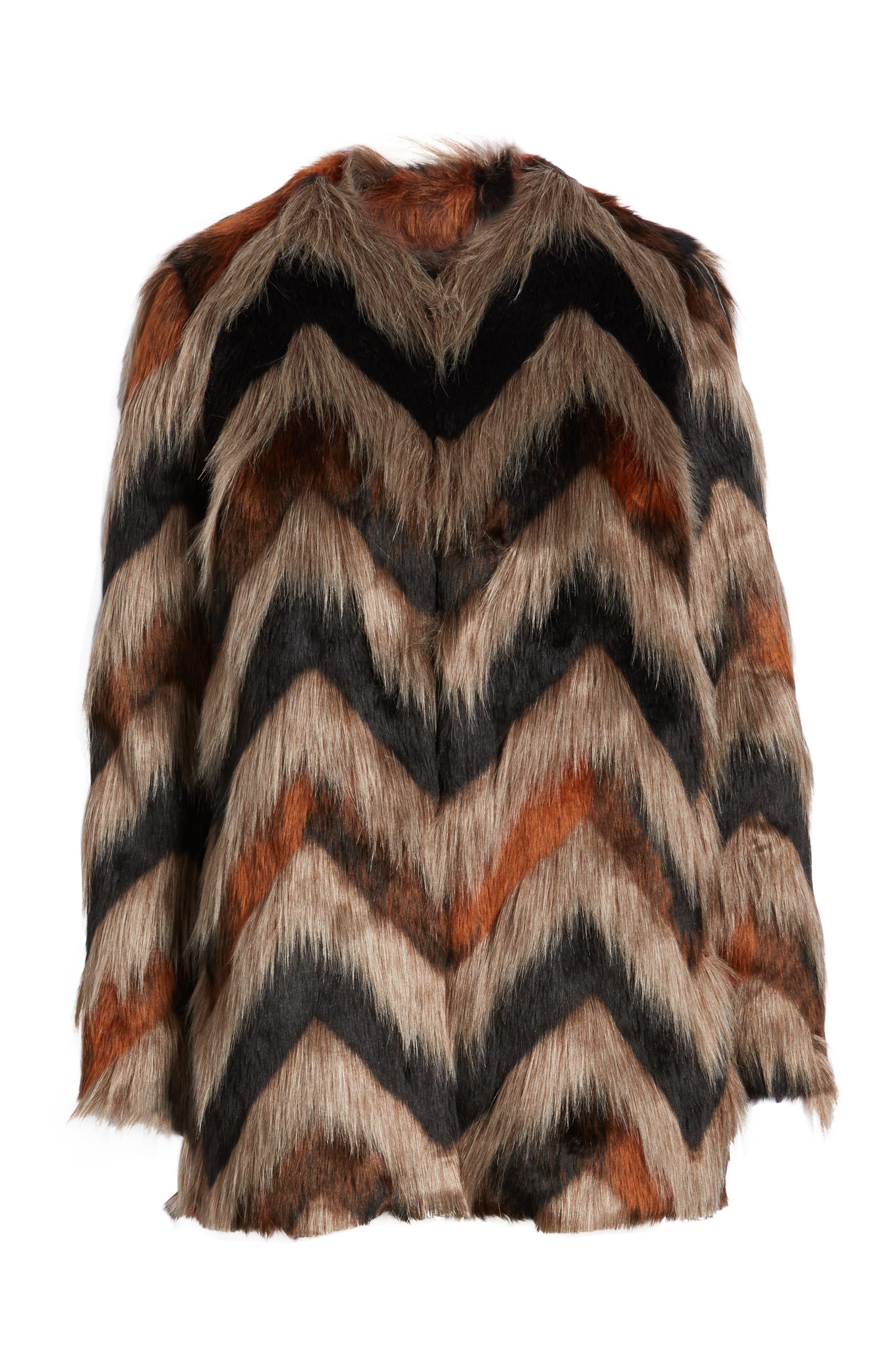 Waylon Faux Fur Jacket,                             Alternate thumbnail 4, color,                             001