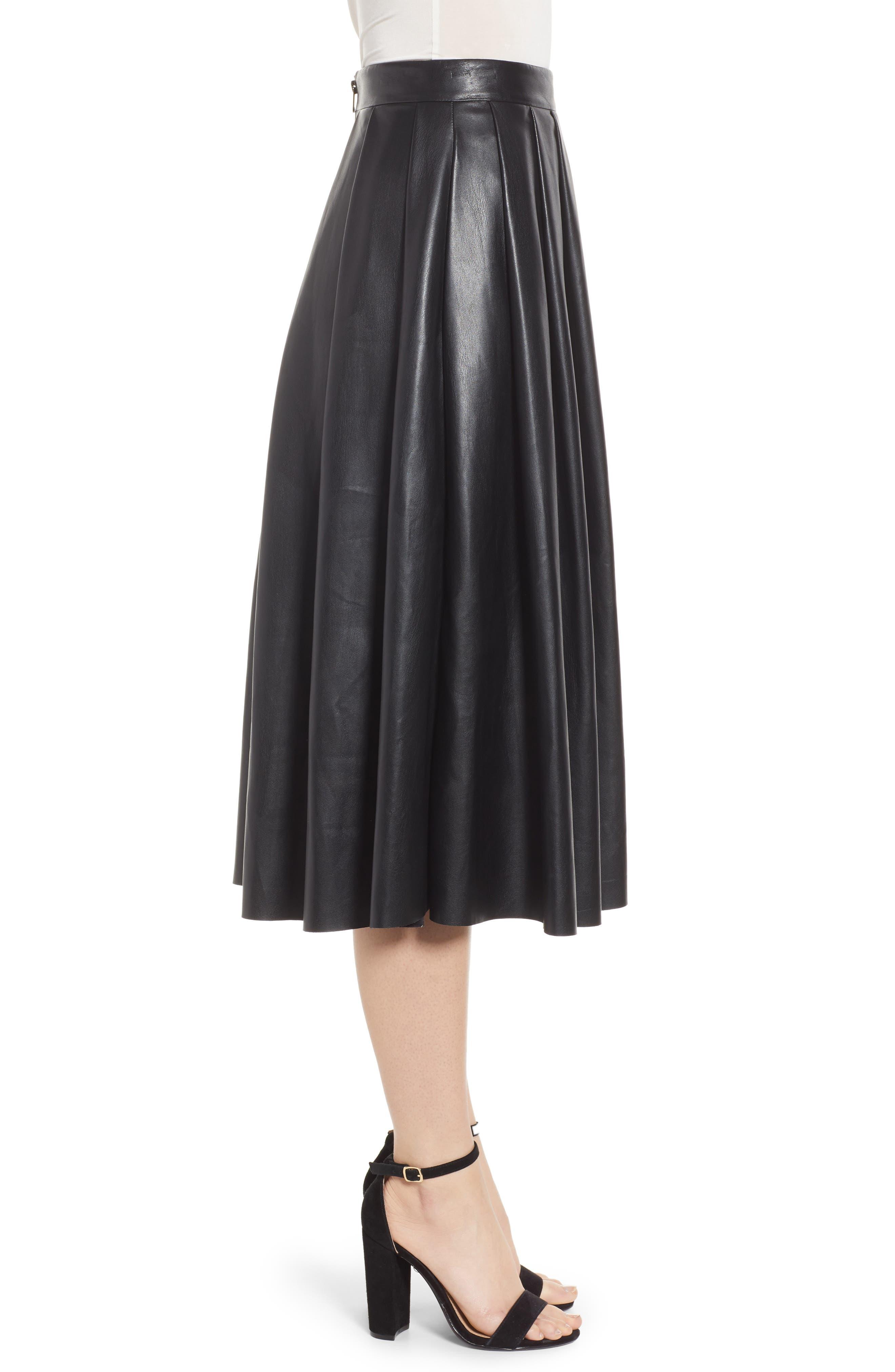 Hudson Faux Leather Midi Skirt,                             Alternate thumbnail 3, color,                             BLACK