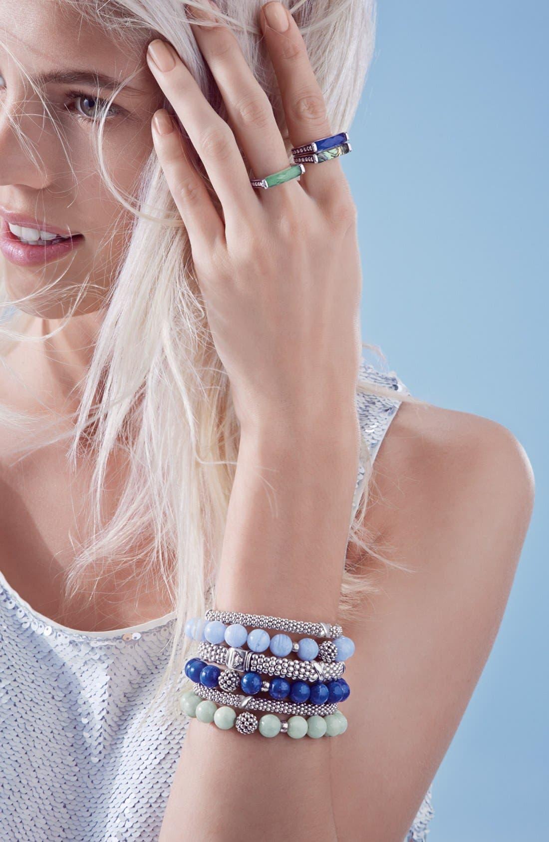 Bead Stretch Bracelet,                             Alternate thumbnail 6, color,                             BLUE LACE AGATE