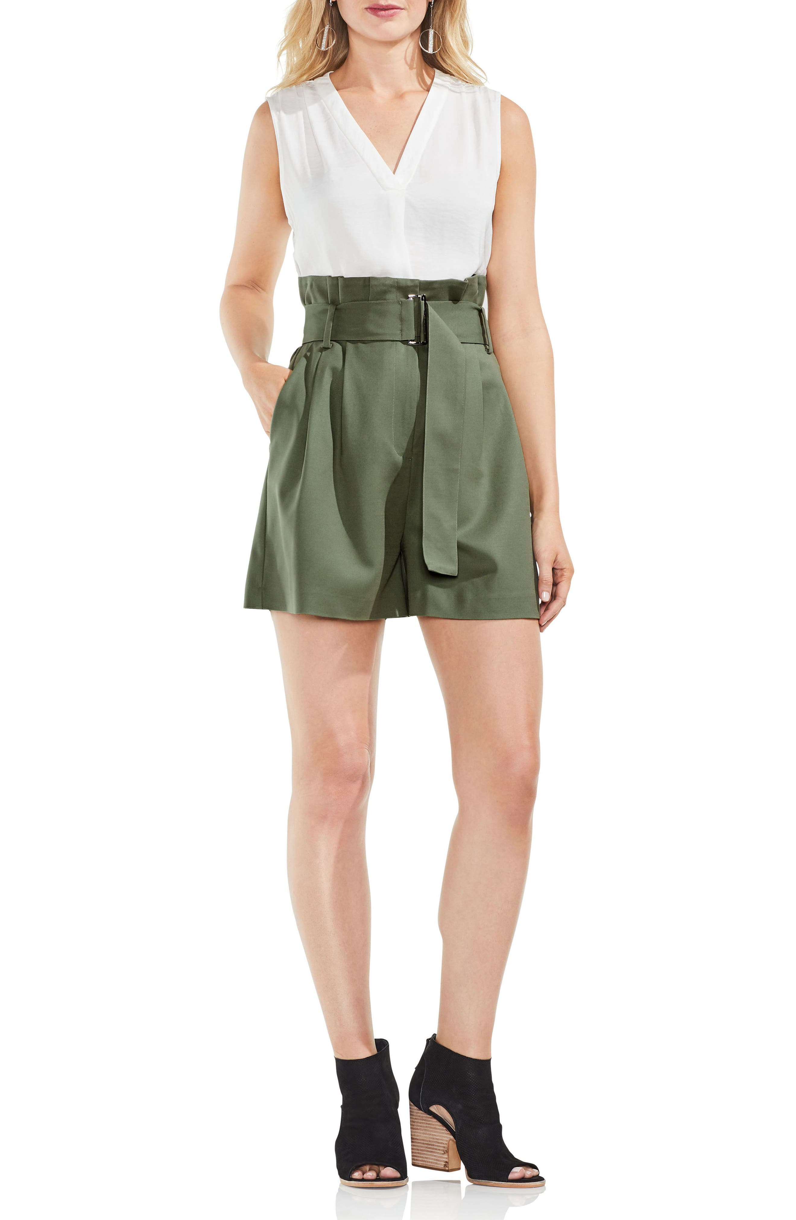 Belted High Waist Shorts,                             Alternate thumbnail 6, color,